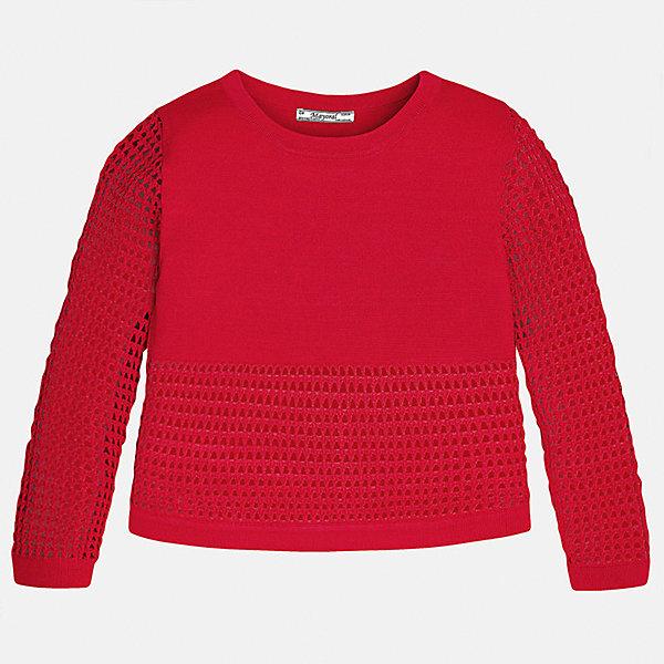 Свитер для девочки MayoralТолстовки<br>Характеристики товара:<br><br>• цвет: красный<br>• состав: 60% вискоза, 40% полиамид<br>• рукава длинные <br>• горловой вырез округлый<br>• отделка краев<br>• страна бренда: Испания<br><br>Удобный и красивый свитер для девочки поможет разнообразить гардероб ребенка и украсить наряд. Он отлично сочетается и с юбками, и с брюками. Универсальный цвет позволяет подобрать к вещи низ различных расцветок. Интересная отделка модели делает её нарядной и оригинальной. <br><br>Одежда, обувь и аксессуары от испанского бренда Mayoral полюбились детям и взрослым по всему миру. Модели этой марки - стильные и удобные. Для их производства используются только безопасные, качественные материалы и фурнитура. Порадуйте ребенка модными и красивыми вещами от Mayoral! <br><br>Свитер для девочки от испанского бренда Mayoral (Майорал) можно купить в нашем интернет-магазине.<br>Ширина мм: 190; Глубина мм: 74; Высота мм: 229; Вес г: 236; Цвет: красный; Возраст от месяцев: 84; Возраст до месяцев: 96; Пол: Женский; Возраст: Детский; Размер: 128/134,170,164,158,152,140; SKU: 5292769;