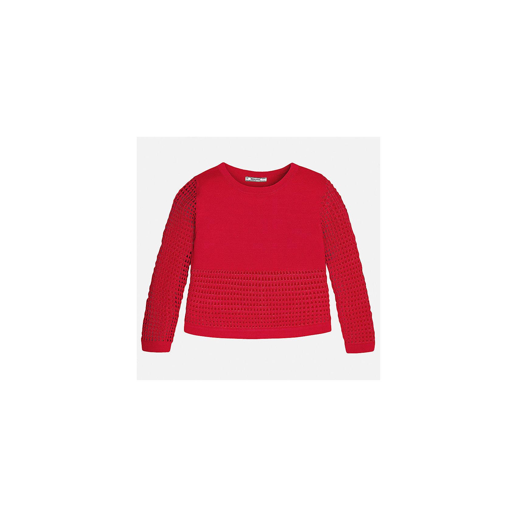 Свитер для девочки MayoralХарактеристики товара:<br><br>• цвет: красный<br>• состав: 60% вискоза, 40% полиамид<br>• рукава длинные <br>• горловой вырез округлый<br>• отделка краев<br>• страна бренда: Испания<br><br>Удобный и красивый свитер для девочки поможет разнообразить гардероб ребенка и украсить наряд. Он отлично сочетается и с юбками, и с брюками. Универсальный цвет позволяет подобрать к вещи низ различных расцветок. Интересная отделка модели делает её нарядной и оригинальной. <br><br>Одежда, обувь и аксессуары от испанского бренда Mayoral полюбились детям и взрослым по всему миру. Модели этой марки - стильные и удобные. Для их производства используются только безопасные, качественные материалы и фурнитура. Порадуйте ребенка модными и красивыми вещами от Mayoral! <br><br>Свитер для девочки от испанского бренда Mayoral (Майорал) можно купить в нашем интернет-магазине.<br><br>Ширина мм: 190<br>Глубина мм: 74<br>Высота мм: 229<br>Вес г: 236<br>Цвет: красный<br>Возраст от месяцев: 168<br>Возраст до месяцев: 180<br>Пол: Женский<br>Возраст: Детский<br>Размер: 170,128/134,140,152,158,164<br>SKU: 5292769