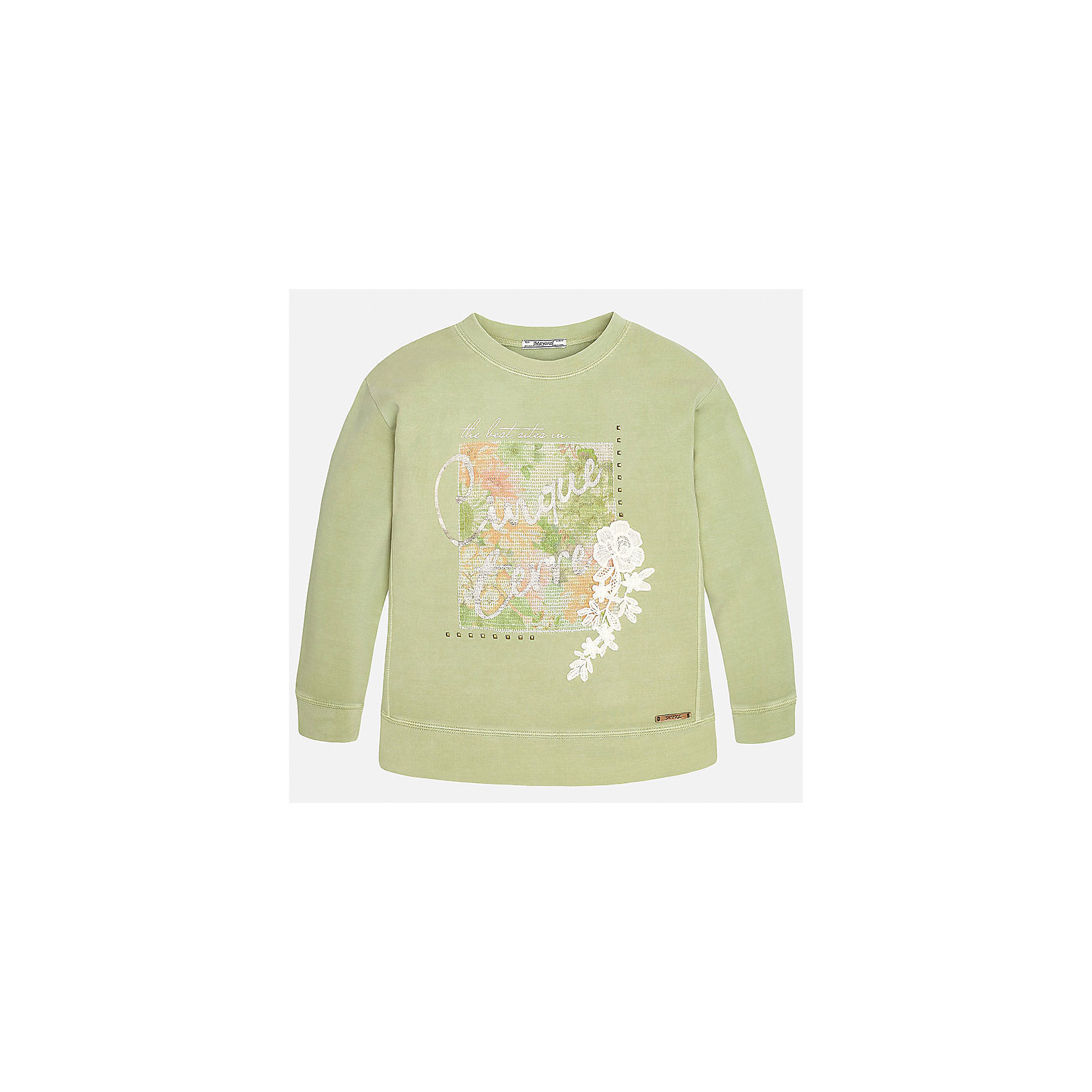 Толстовка для девочки MayoralТолстовки<br>Характеристики товара:<br><br>• цвет: зеленый<br>• состав: 94% хлопок, 6% эластан<br>• рукава длинные<br>• украшен принтом<br>• горловой вырез округлый<br>• отделка краев<br>• страна бренда: Испания<br><br>Удобный и красивый свитер для девочки поможет разнообразить гардероб ребенка и украсить наряд. Он отлично сочетается и с юбками, и с брюками. Универсальный цвет позволяет подобрать к вещи низ различных расцветок. Интересная отделка модели делает её нарядной и оригинальной. В составе материала - натуральный хлопок, гипоаллергенный, приятный на ощупь, дышащий.<br><br>Одежда, обувь и аксессуары от испанского бренда Mayoral полюбились детям и взрослым по всему миру. Модели этой марки - стильные и удобные. Для их производства используются только безопасные, качественные материалы и фурнитура. Порадуйте ребенка модными и красивыми вещами от Mayoral! <br><br>Свитер для девочки от испанского бренда Mayoral (Майорал) можно купить в нашем интернет-магазине.<br><br>Ширина мм: 190<br>Глубина мм: 74<br>Высота мм: 229<br>Вес г: 236<br>Цвет: зеленый<br>Возраст от месяцев: 84<br>Возраст до месяцев: 96<br>Пол: Женский<br>Возраст: Детский<br>Размер: 128/134,170,140,152,158,164<br>SKU: 5292795
