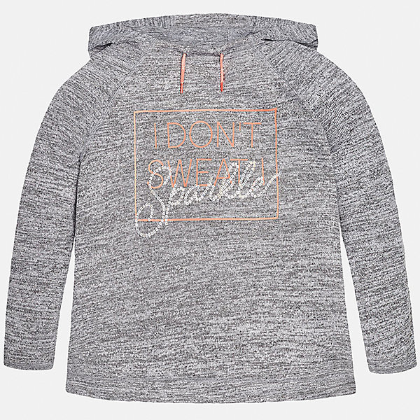 Толстовка для девочки MayoralТолстовки<br>Характеристики товара:<br><br>• цвет: серый<br>• состав: 49% вискоза, 47% полиэстер, 4% эластан<br>• рукава длинные <br>• принт<br>• капюшон с утягивающим шнурком<br>• страна бренда: Испания<br><br>Удобный и красивый свитер для девочки поможет разнообразить гардероб ребенка и украсить наряд. Он отлично сочетается и с юбками, и с брюками. Универсальный цвет позволяет подобрать к вещи низ различных расцветок. Интересная отделка модели делает её нарядной и оригинальной. <br><br>Одежда, обувь и аксессуары от испанского бренда Mayoral полюбились детям и взрослым по всему миру. Модели этой марки - стильные и удобные. Для их производства используются только безопасные, качественные материалы и фурнитура. Порадуйте ребенка модными и красивыми вещами от Mayoral! <br><br>Свитер для девочки от испанского бренда Mayoral (Майорал) можно купить в нашем интернет-магазине.<br>Ширина мм: 190; Глубина мм: 74; Высота мм: 229; Вес г: 236; Цвет: серый; Возраст от месяцев: 156; Возраст до месяцев: 168; Пол: Женский; Возраст: Детский; Размер: 164,128/134,170,158,152,140; SKU: 5292821;