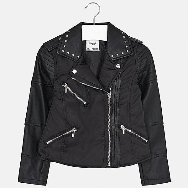 Куртка для девочки MayoralОдежда<br>Характеристики товара:<br><br>• цвет: черный<br>• состав: 70% полиэстер, 30% полиуретан, подкладка - 100% полиэстер<br>• косая молния<br>• карманы<br>• с длинными рукавами <br>• металлические элементы на вороте<br>• страна бренда: Испания<br><br>Стильный пиджак для девочки поможет разнообразить гардероб ребенка и украсить наряд. Он отлично сочетается и с юбками, и с брюками. Универсальный цвет позволяет подобрать к вещи низ различных расцветок. Интересная отделка модели делает её нарядной и оригинальной.<br><br>Одежда, обувь и аксессуары от испанского бренда Mayoral полюбились детям и взрослым по всему миру. Модели этой марки - стильные и удобные. Для их производства используются только безопасные, качественные материалы и фурнитура. Порадуйте ребенка модными и красивыми вещами от Mayoral! <br><br>Пиджак для девочки от испанского бренда Mayoral (Майорал) можно купить в нашем интернет-магазине.<br>Ширина мм: 247; Глубина мм: 16; Высота мм: 140; Вес г: 225; Цвет: черный; Возраст от месяцев: 156; Возраст до месяцев: 168; Пол: Женский; Возраст: Детский; Размер: 164,128/134,170,158,152,140; SKU: 5292828;