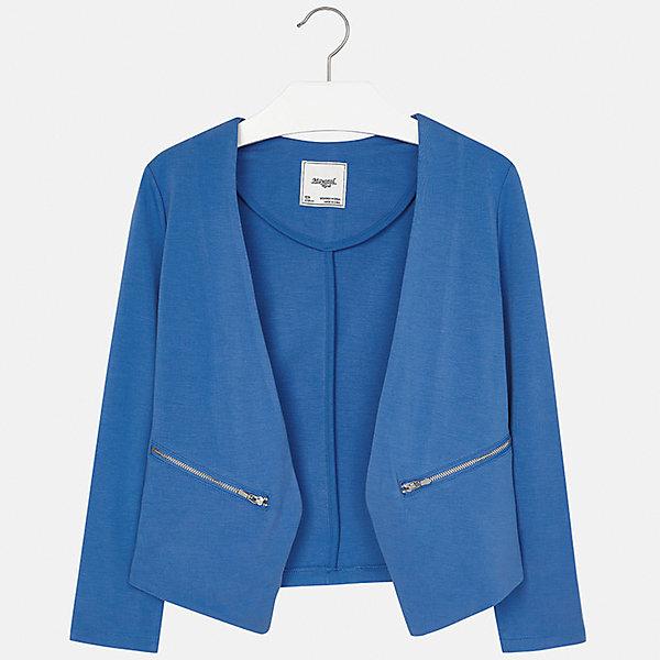 Пиджак для девочки MayoralПиджаки и костюмы<br>Характеристики товара:<br><br>• цвет: синий<br>• состав: 68% вискоза, 27% полиамид, 5% эластан<br>• без застежки<br>• карманы<br>• с длинными рукавами <br>• страна бренда: Испания<br><br>Модный и удобный пиджак для девочки поможет разнообразить гардероб ребенка и украсить наряд. Он отлично сочетается и с юбками, и с брюками. Универсальный цвет позволяет подобрать к вещи низ различных расцветок. Интересный крой модели делает её нарядной и оригинальной.<br><br>Одежда, обувь и аксессуары от испанского бренда Mayoral полюбились детям и взрослым по всему миру. Модели этой марки - стильные и удобные. Для их производства используются только безопасные, качественные материалы и фурнитура. Порадуйте ребенка модными и красивыми вещами от Mayoral! <br><br>Пиджак для девочки от испанского бренда Mayoral (Майорал) можно купить в нашем интернет-магазине.<br>Ширина мм: 247; Глубина мм: 16; Высота мм: 140; Вес г: 225; Цвет: синий; Возраст от месяцев: 156; Возраст до месяцев: 168; Пол: Женский; Возраст: Детский; Размер: 164,128/134,170,158,152,140; SKU: 5292842;