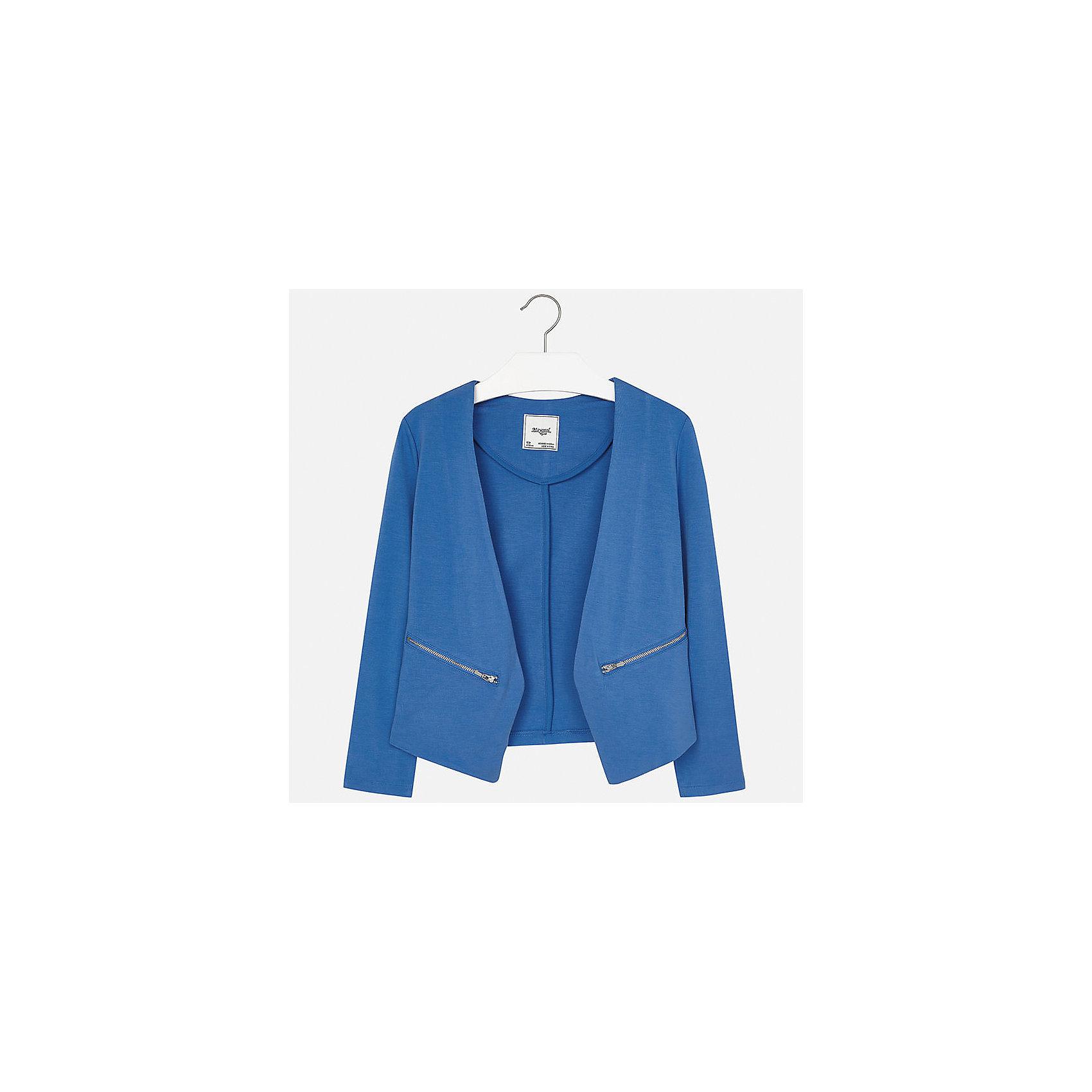 Пиджак для девочки MayoralКостюмы и пиджаки<br>Характеристики товара:<br><br>• цвет: синий<br>• состав: 68% вискоза, 27% полиамид, 5% эластан<br>• без застежки<br>• карманы<br>• с длинными рукавами <br>• страна бренда: Испания<br><br>Модный и удобный пиджак для девочки поможет разнообразить гардероб ребенка и украсить наряд. Он отлично сочетается и с юбками, и с брюками. Универсальный цвет позволяет подобрать к вещи низ различных расцветок. Интересный крой модели делает её нарядной и оригинальной.<br><br>Одежда, обувь и аксессуары от испанского бренда Mayoral полюбились детям и взрослым по всему миру. Модели этой марки - стильные и удобные. Для их производства используются только безопасные, качественные материалы и фурнитура. Порадуйте ребенка модными и красивыми вещами от Mayoral! <br><br>Пиджак для девочки от испанского бренда Mayoral (Майорал) можно купить в нашем интернет-магазине.<br><br>Ширина мм: 247<br>Глубина мм: 16<br>Высота мм: 140<br>Вес г: 225<br>Цвет: синий<br>Возраст от месяцев: 168<br>Возраст до месяцев: 180<br>Пол: Женский<br>Возраст: Детский<br>Размер: 170,128/134,140,152,158,164<br>SKU: 5292842