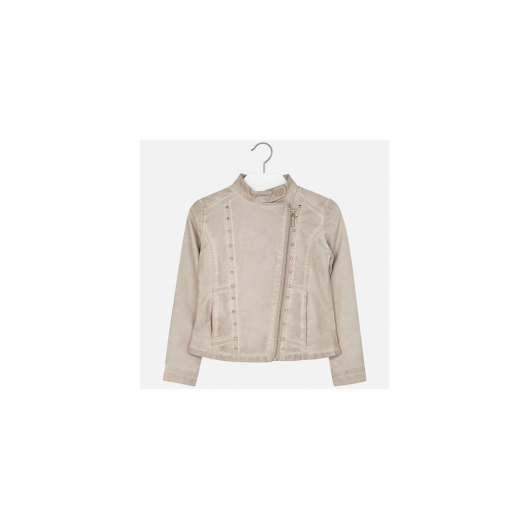 Куртка для девочки MayoralВетровки и жакеты<br>Характеристики товара:<br><br>• цвет: бежевый<br>• состав: 100% полиуретан, подкладка - 100% полиэстер<br>• косая молния<br>• карманы<br>• с длинными рукавами <br>• металлические элементы на планке<br>• страна бренда: Испания<br><br>Очень стильная куртка для девочки поможет разнообразить гардероб ребенка и украсить наряд. Он отлично сочетается и с юбками, и с брюками. Универсальный цвет позволяет подобрать к вещи низ различных расцветок. Интересная отделка модели делает её нарядной и оригинальной.<br><br>Одежда, обувь и аксессуары от испанского бренда Mayoral полюбились детям и взрослым по всему миру. Модели этой марки - стильные и удобные. Для их производства используются только безопасные, качественные материалы и фурнитура. Порадуйте ребенка модными и красивыми вещами от Mayoral! <br><br>Куртку для девочки от испанского бренда Mayoral (Майорал) можно купить в нашем интернет-магазине.<br><br>Ширина мм: 356<br>Глубина мм: 10<br>Высота мм: 245<br>Вес г: 519<br>Цвет: бежевый<br>Возраст от месяцев: 168<br>Возраст до месяцев: 180<br>Пол: Женский<br>Возраст: Детский<br>Размер: 170,128/134,140,152,158,164<br>SKU: 5292849