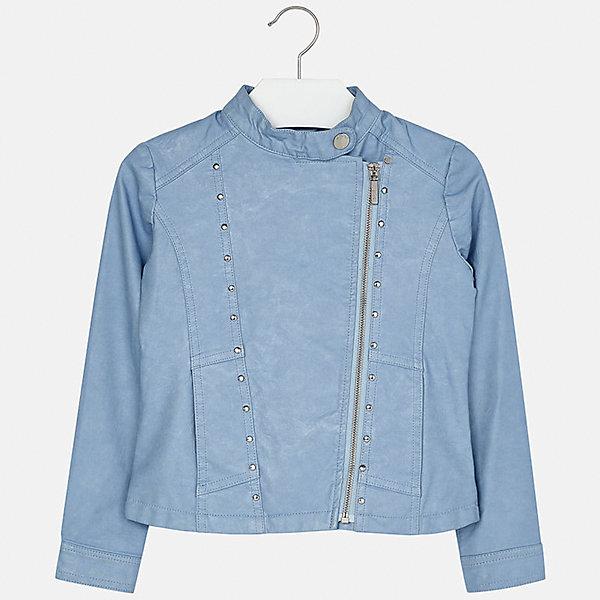 Куртка для девочки MayoralВетровки и жакеты<br>Характеристики товара:<br><br>• цвет: голубой<br>• состав: 100% полиуретан, подкладка - 100% полиэстер<br>• косая молния<br>• карманы<br>• с длинными рукавами <br>• металлические элементы на планке<br>• страна бренда: Испания<br><br>Очень стильная куртка для девочки поможет разнообразить гардероб ребенка и украсить наряд. Он отлично сочетается и с юбками, и с брюками. Универсальный цвет позволяет подобрать к вещи низ различных расцветок. Интересная отделка модели делает её нарядной и оригинальной.<br><br>Одежда, обувь и аксессуары от испанского бренда Mayoral полюбились детям и взрослым по всему миру. Модели этой марки - стильные и удобные. Для их производства используются только безопасные, качественные материалы и фурнитура. Порадуйте ребенка модными и красивыми вещами от Mayoral! <br><br>Куртку для девочки от испанского бренда Mayoral (Майорал) можно купить в нашем интернет-магазине.<br>Ширина мм: 356; Глубина мм: 10; Высота мм: 245; Вес г: 519; Цвет: голубой; Возраст от месяцев: 144; Возраст до месяцев: 156; Пол: Женский; Возраст: Детский; Размер: 158,128/134,170,164,152,140; SKU: 5292856;