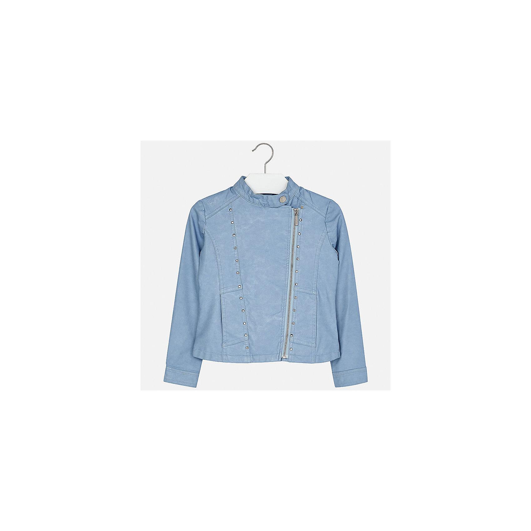 Куртка для девочки MayoralВерхняя одежда<br>Характеристики товара:<br><br>• цвет: голубой<br>• состав: 100% полиуретан, подкладка - 100% полиэстер<br>• косая молния<br>• карманы<br>• с длинными рукавами <br>• металлические элементы на планке<br>• страна бренда: Испания<br><br>Очень стильная куртка для девочки поможет разнообразить гардероб ребенка и украсить наряд. Он отлично сочетается и с юбками, и с брюками. Универсальный цвет позволяет подобрать к вещи низ различных расцветок. Интересная отделка модели делает её нарядной и оригинальной.<br><br>Одежда, обувь и аксессуары от испанского бренда Mayoral полюбились детям и взрослым по всему миру. Модели этой марки - стильные и удобные. Для их производства используются только безопасные, качественные материалы и фурнитура. Порадуйте ребенка модными и красивыми вещами от Mayoral! <br><br>Куртку для девочки от испанского бренда Mayoral (Майорал) можно купить в нашем интернет-магазине.<br><br>Ширина мм: 356<br>Глубина мм: 10<br>Высота мм: 245<br>Вес г: 519<br>Цвет: голубой<br>Возраст от месяцев: 84<br>Возраст до месяцев: 96<br>Пол: Женский<br>Возраст: Детский<br>Размер: 128/134,170,140,152,158,164<br>SKU: 5292856