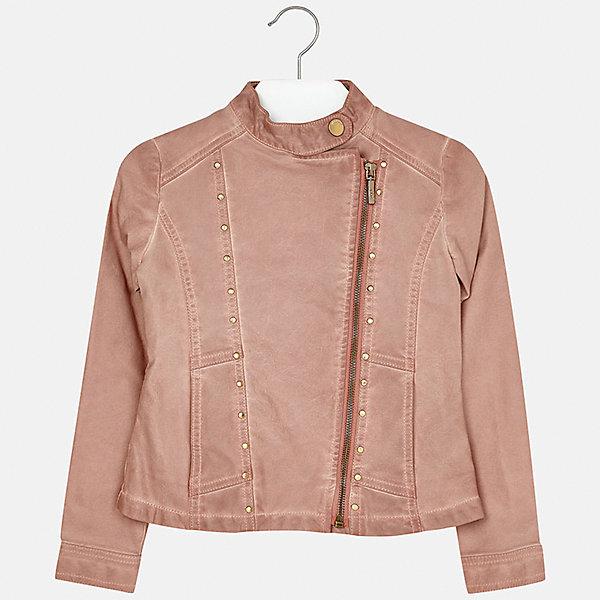 Куртка для девочки MayoralВерхняя одежда<br>Характеристики товара:<br><br>• цвет: розовый<br>• состав: 100% полиуретан, подкладка - 100% полиэстер<br>• косая молния<br>• карманы<br>• с длинными рукавами <br>• металлические элементы на планке<br>• страна бренда: Испания<br><br>Очень стильная куртка для девочки поможет разнообразить гардероб ребенка и украсить наряд. Он отлично сочетается и с юбками, и с брюками. Универсальный цвет позволяет подобрать к вещи низ различных расцветок. Интересная отделка модели делает её нарядной и оригинальной.<br><br>Одежда, обувь и аксессуары от испанского бренда Mayoral полюбились детям и взрослым по всему миру. Модели этой марки - стильные и удобные. Для их производства используются только безопасные, качественные материалы и фурнитура. Порадуйте ребенка модными и красивыми вещами от Mayoral! <br><br>Куртку для девочки от испанского бренда Mayoral (Майорал) можно купить в нашем интернет-магазине.<br><br>Ширина мм: 356<br>Глубина мм: 10<br>Высота мм: 245<br>Вес г: 519<br>Цвет: розовый<br>Возраст от месяцев: 108<br>Возраст до месяцев: 120<br>Пол: Женский<br>Возраст: Детский<br>Размер: 152,128/134,140,170,164,158<br>SKU: 5292863