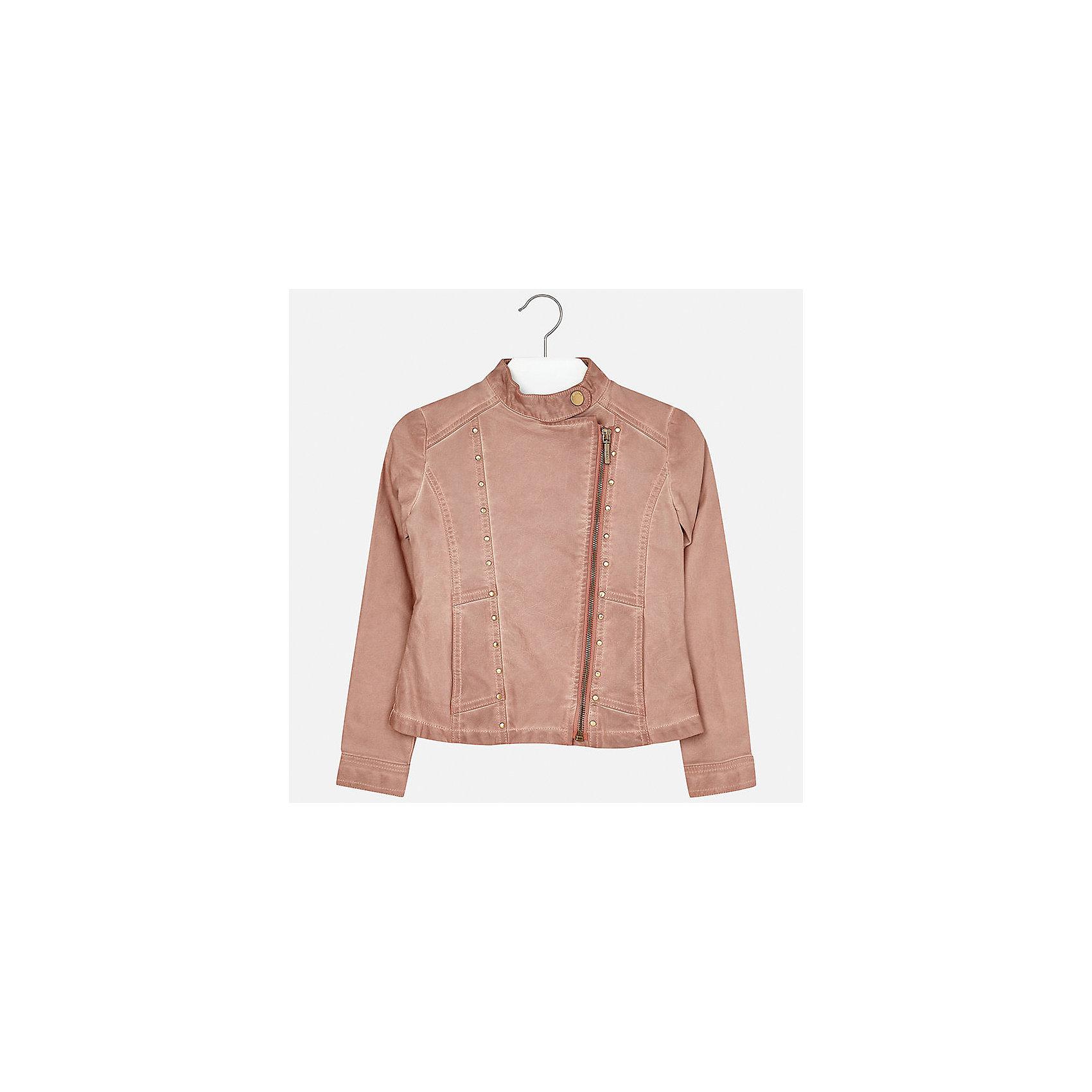 Куртка для девочки MayoralВетровки и жакеты<br>Характеристики товара:<br><br>• цвет: розовый<br>• состав: 100% полиуретан, подкладка - 100% полиэстер<br>• косая молния<br>• карманы<br>• с длинными рукавами <br>• металлические элементы на планке<br>• страна бренда: Испания<br><br>Очень стильная куртка для девочки поможет разнообразить гардероб ребенка и украсить наряд. Он отлично сочетается и с юбками, и с брюками. Универсальный цвет позволяет подобрать к вещи низ различных расцветок. Интересная отделка модели делает её нарядной и оригинальной.<br><br>Одежда, обувь и аксессуары от испанского бренда Mayoral полюбились детям и взрослым по всему миру. Модели этой марки - стильные и удобные. Для их производства используются только безопасные, качественные материалы и фурнитура. Порадуйте ребенка модными и красивыми вещами от Mayoral! <br><br>Куртку для девочки от испанского бренда Mayoral (Майорал) можно купить в нашем интернет-магазине.<br><br>Ширина мм: 356<br>Глубина мм: 10<br>Высота мм: 245<br>Вес г: 519<br>Цвет: розовый<br>Возраст от месяцев: 168<br>Возраст до месяцев: 180<br>Пол: Женский<br>Возраст: Детский<br>Размер: 170,140,128/134,152,158,164<br>SKU: 5292863