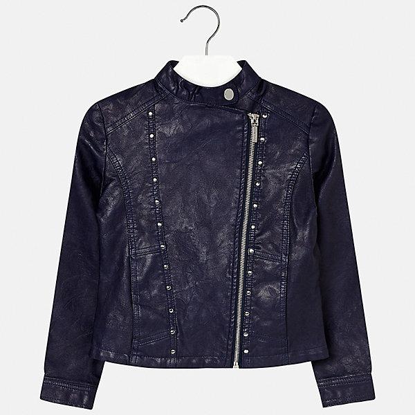 Куртка для девочки MayoralВерхняя одежда<br>Характеристики товара:<br><br>• цвет: синий<br>• состав: 100% полиуретан, подкладка - 100% полиэстер<br>• температурный режим: от +15°до +10°С<br>• косая молния<br>• карманы<br>• с длинными рукавами <br>• металлические элементы на планке<br>• страна бренда: Испания<br><br>Очень стильная куртка для девочки поможет разнообразить гардероб ребенка и украсить наряд. Он отлично сочетается и с юбками, и с брюками. Универсальный цвет позволяет подобрать к вещи низ различных расцветок. Интересная отделка модели делает её нарядной и оригинальной.<br><br>Одежда, обувь и аксессуары от испанского бренда Mayoral полюбились детям и взрослым по всему миру. Модели этой марки - стильные и удобные. Для их производства используются только безопасные, качественные материалы и фурнитура. Порадуйте ребенка модными и красивыми вещами от Mayoral! <br><br>Куртку для девочки от испанского бренда Mayoral (Майорал) можно купить в нашем интернет-магазине.<br>Ширина мм: 356; Глубина мм: 10; Высота мм: 245; Вес г: 519; Цвет: синий; Возраст от месяцев: 84; Возраст до месяцев: 96; Пол: Женский; Возраст: Детский; Размер: 128/134,170,164,158,152,140; SKU: 5292870;