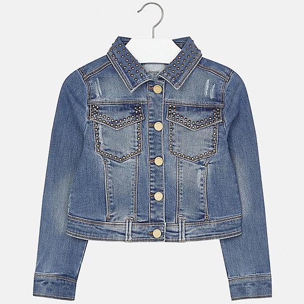 Куртка джинсовая для девочки MayoralДжинсовая одежда<br>Характеристики товара:<br><br>• цвет: синий<br>• состав: 70% хлопок, 26% полиэстер, 3% вискоза, 1% эластан<br>• пуговицы<br>• карманы<br>• с длинными рукавами <br>• эффект потертости<br>• страна бренда: Испания<br><br>Очень стильная куртка для девочки поможет разнообразить гардероб ребенка и украсить наряд. Он отлично сочетается и с юбками, и с брюками. Универсальный цвет позволяет подобрать к вещи низ различных расцветок. Интересная отделка модели делает её нарядной и оригинальной.<br><br>Одежда, обувь и аксессуары от испанского бренда Mayoral полюбились детям и взрослым по всему миру. Модели этой марки - стильные и удобные. Для их производства используются только безопасные, качественные материалы и фурнитура. Порадуйте ребенка модными и красивыми вещами от Mayoral! <br><br>Куртку для девочки от испанского бренда Mayoral (Майорал) можно купить в нашем интернет-магазине.<br><br>Ширина мм: 356<br>Глубина мм: 10<br>Высота мм: 245<br>Вес г: 519<br>Цвет: голубой<br>Возраст от месяцев: 168<br>Возраст до месяцев: 180<br>Пол: Женский<br>Возраст: Детский<br>Размер: 170,128/134,164,158,152,140<br>SKU: 5292877