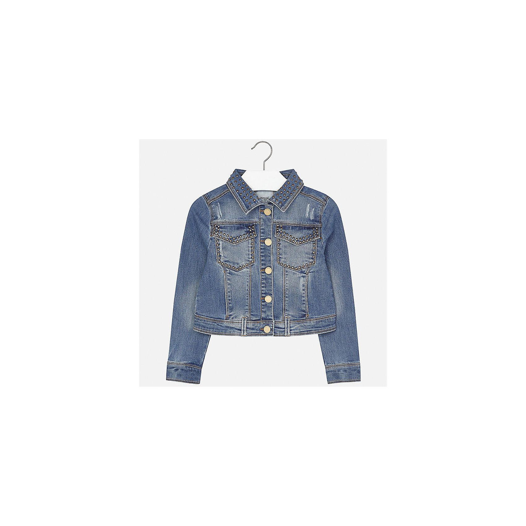 Куртка джинсовая для девочки MayoralДжинсовая одежда<br>Характеристики товара:<br><br>• цвет: синий<br>• состав: 70% хлопок, 26% полиэстер, 3% вискоза, 1% эластан<br>• пуговицы<br>• карманы<br>• с длинными рукавами <br>• эффект потертости<br>• страна бренда: Испания<br><br>Очень стильная куртка для девочки поможет разнообразить гардероб ребенка и украсить наряд. Он отлично сочетается и с юбками, и с брюками. Универсальный цвет позволяет подобрать к вещи низ различных расцветок. Интересная отделка модели делает её нарядной и оригинальной.<br><br>Одежда, обувь и аксессуары от испанского бренда Mayoral полюбились детям и взрослым по всему миру. Модели этой марки - стильные и удобные. Для их производства используются только безопасные, качественные материалы и фурнитура. Порадуйте ребенка модными и красивыми вещами от Mayoral! <br><br>Куртку для девочки от испанского бренда Mayoral (Майорал) можно купить в нашем интернет-магазине.<br><br>Ширина мм: 356<br>Глубина мм: 10<br>Высота мм: 245<br>Вес г: 519<br>Цвет: голубой<br>Возраст от месяцев: 168<br>Возраст до месяцев: 180<br>Пол: Женский<br>Возраст: Детский<br>Размер: 158,164,170,128/134,140,152<br>SKU: 5292877