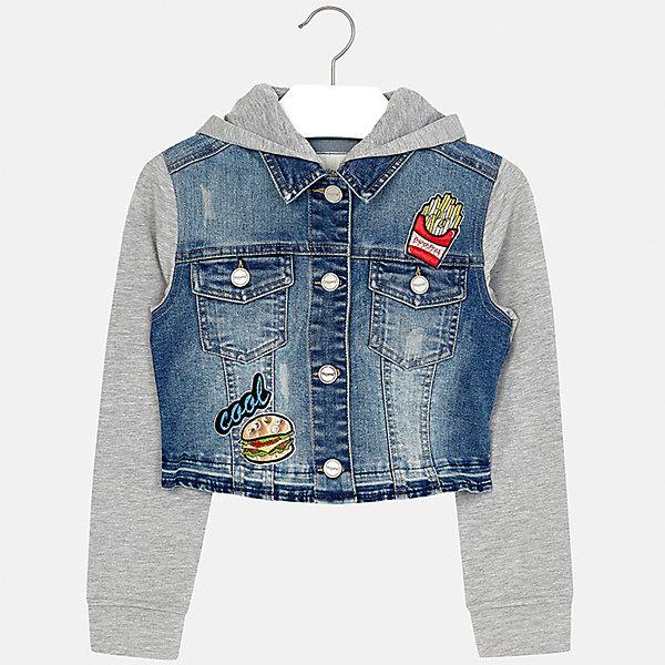 Куртка джинсовая для девочки MayoralДжинсовая одежда<br>Характеристики товара:<br><br>• цвет: синий/серый<br>• состав: 81% хлопок, 17% полиэстер, 2% эластан<br>• температурный режим: от +15°до +10°С<br>• пуговицы<br>• карманы<br>• капюшон<br>• эффект потертости<br>• страна бренда: Испания<br><br>Очень стильная куртка для девочки поможет разнообразить гардероб ребенка и украсить наряд. Он отлично сочетается и с юбками, и с брюками. Универсальный цвет позволяет подобрать к вещи низ различных расцветок. Интересная отделка модели делает её нарядной и оригинальной.<br><br>Одежда, обувь и аксессуары от испанского бренда Mayoral полюбились детям и взрослым по всему миру. Модели этой марки - стильные и удобные. Для их производства используются только безопасные, качественные материалы и фурнитура. Порадуйте ребенка модными и красивыми вещами от Mayoral! <br><br>Куртку для девочки от испанского бренда Mayoral (Майорал) можно купить в нашем интернет-магазине.<br><br>Ширина мм: 356<br>Глубина мм: 10<br>Высота мм: 245<br>Вес г: 519<br>Цвет: голубой<br>Возраст от месяцев: 168<br>Возраст до месяцев: 180<br>Пол: Женский<br>Возраст: Детский<br>Размер: 170,128/134,164,158,152,140<br>SKU: 5292884