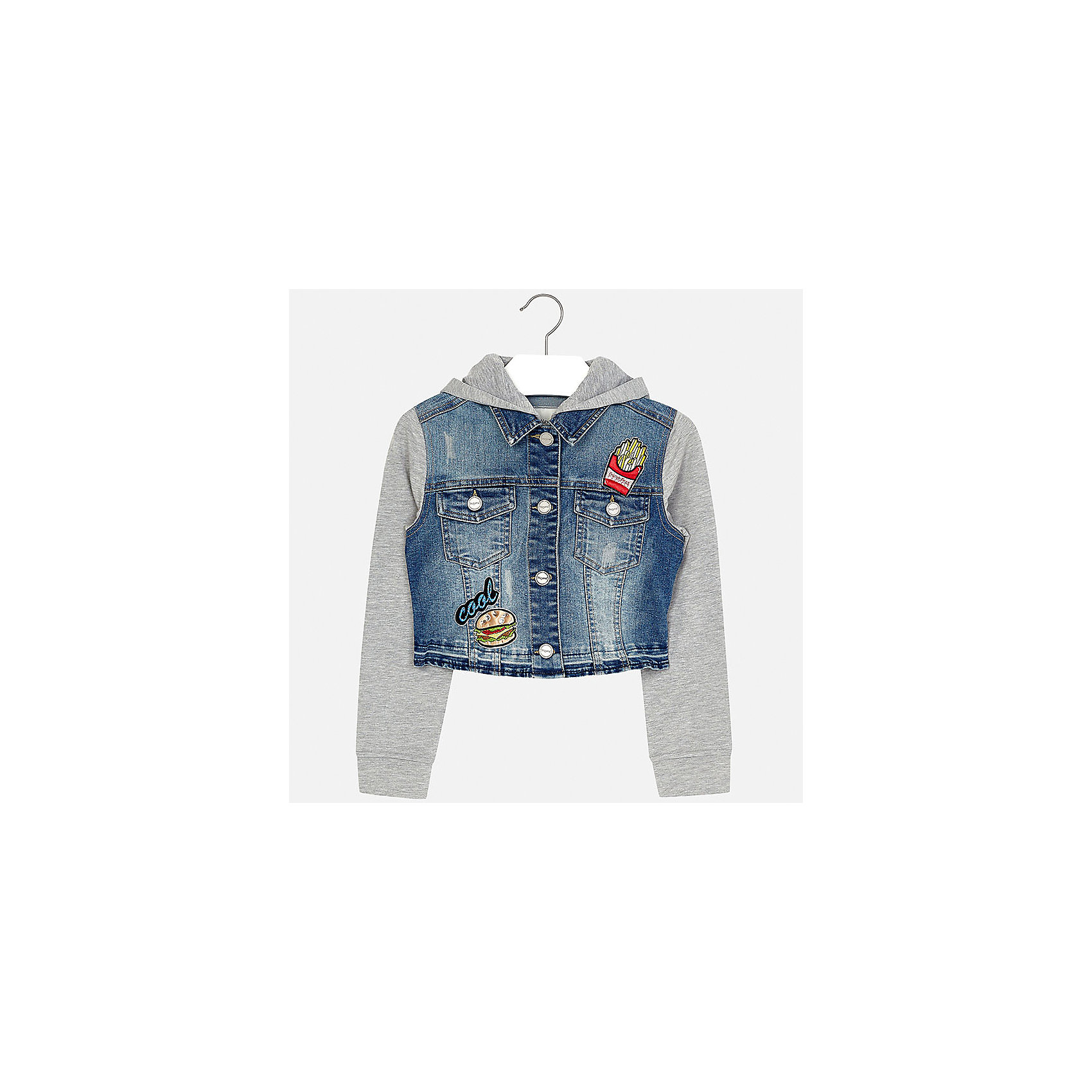 Куртка для девочки MayoralДжинсовая одежда<br>Характеристики товара:<br><br>• цвет: синий/серый<br>• состав: 81% хлопок, 17% полиэстер, 2% эластан<br>• температурный режим: от +15°до +10°С<br>• пуговицы<br>• карманы<br>• капюшон<br>• эффект потертости<br>• страна бренда: Испания<br><br>Очень стильная куртка для девочки поможет разнообразить гардероб ребенка и украсить наряд. Он отлично сочетается и с юбками, и с брюками. Универсальный цвет позволяет подобрать к вещи низ различных расцветок. Интересная отделка модели делает её нарядной и оригинальной.<br><br>Одежда, обувь и аксессуары от испанского бренда Mayoral полюбились детям и взрослым по всему миру. Модели этой марки - стильные и удобные. Для их производства используются только безопасные, качественные материалы и фурнитура. Порадуйте ребенка модными и красивыми вещами от Mayoral! <br><br>Куртку для девочки от испанского бренда Mayoral (Майорал) можно купить в нашем интернет-магазине.<br><br>Ширина мм: 356<br>Глубина мм: 10<br>Высота мм: 245<br>Вес г: 519<br>Цвет: голубой<br>Возраст от месяцев: 168<br>Возраст до месяцев: 180<br>Пол: Женский<br>Возраст: Детский<br>Размер: 170,128/134,140,152,158,164<br>SKU: 5292884
