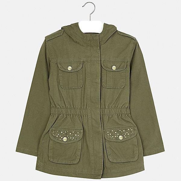 Куртка для девочки MayoralВерхняя одежда<br>Характеристики товара:<br><br>• цвет: хаки<br>• состав: 100% хлопок, подкладка - 65% полиэстер, 35% хлопок<br>• молния<br>• карманы<br>• капюшон<br>• украшена стразами<br>• страна бренда: Испания<br><br>Очень стильная куртка для девочки поможет разнообразить гардероб ребенка и украсить наряд. Он отлично сочетается и с юбками, и с брюками. Универсальный цвет позволяет подобрать к вещи низ различных расцветок. Интересная отделка модели делает её нарядной и оригинальной.<br><br>Одежда, обувь и аксессуары от испанского бренда Mayoral полюбились детям и взрослым по всему миру. Модели этой марки - стильные и удобные. Для их производства используются только безопасные, качественные материалы и фурнитура. Порадуйте ребенка модными и красивыми вещами от Mayoral! <br><br>Куртку для девочки от испанского бренда Mayoral (Майорал) можно купить в нашем интернет-магазине.<br>Ширина мм: 356; Глубина мм: 10; Высота мм: 245; Вес г: 519; Цвет: зеленый; Возраст от месяцев: 132; Возраст до месяцев: 144; Пол: Женский; Возраст: Детский; Размер: 152,140,128/134,158,164,170; SKU: 5292891;