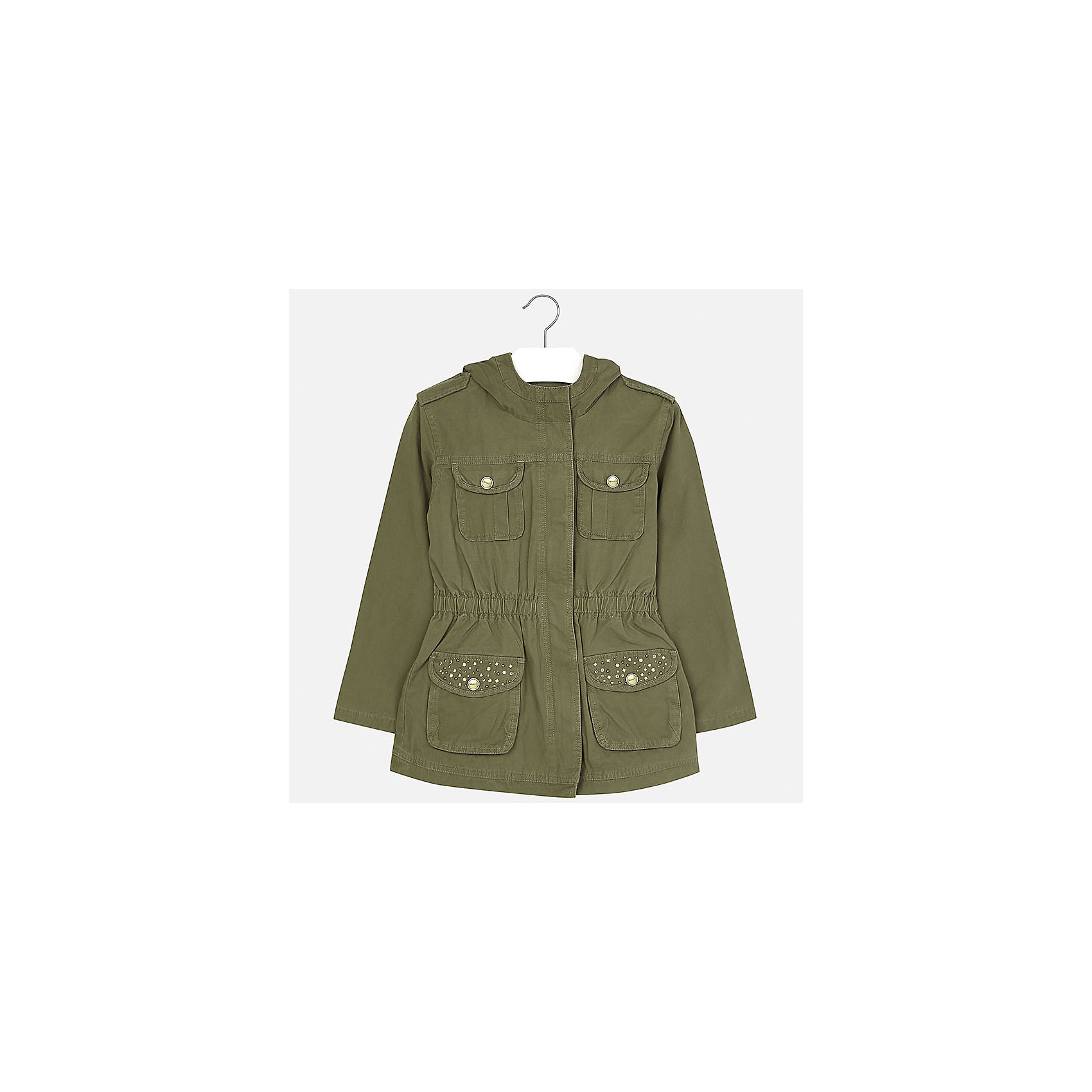 Куртка для девочки MayoralВерхняя одежда<br>Характеристики товара:<br><br>• цвет: хаки<br>• состав: 100% хлопок, подкладка - 65% полиэстер, 35% хлопок<br>• молния<br>• карманы<br>• капюшон<br>• украшена стразами<br>• страна бренда: Испания<br><br>Очень стильная куртка для девочки поможет разнообразить гардероб ребенка и украсить наряд. Он отлично сочетается и с юбками, и с брюками. Универсальный цвет позволяет подобрать к вещи низ различных расцветок. Интересная отделка модели делает её нарядной и оригинальной.<br><br>Одежда, обувь и аксессуары от испанского бренда Mayoral полюбились детям и взрослым по всему миру. Модели этой марки - стильные и удобные. Для их производства используются только безопасные, качественные материалы и фурнитура. Порадуйте ребенка модными и красивыми вещами от Mayoral! <br><br>Куртку для девочки от испанского бренда Mayoral (Майорал) можно купить в нашем интернет-магазине.<br><br>Ширина мм: 356<br>Глубина мм: 10<br>Высота мм: 245<br>Вес г: 519<br>Цвет: зеленый<br>Возраст от месяцев: 84<br>Возраст до месяцев: 96<br>Пол: Женский<br>Возраст: Детский<br>Размер: 128/134,170,140,152,158,164<br>SKU: 5292891