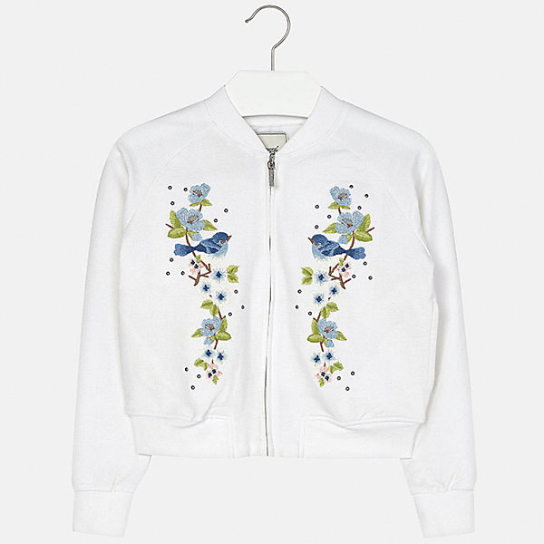 Куртка для девочки MayoralВерхняя одежда<br>Характеристики товара:<br><br>• цвет: белый<br>• состав: 95% хлопок, 5% эластан<br>• молния<br>• манжеты<br>• длинные рукава<br>• украшена принтом<br>• страна бренда: Испания<br><br>Очень стильная куртка для девочки поможет разнообразить гардероб ребенка и украсить наряд. Он отлично сочетается и с юбками, и с брюками. Интересная отделка модели делает её нарядной и оригинальной.<br><br>Куртку для девочки от испанского бренда Mayoral (Майорал) можно купить в нашем интернет-магазине.<br><br>Ширина мм: 356<br>Глубина мм: 10<br>Высота мм: 245<br>Вес г: 519<br>Цвет: белый<br>Возраст от месяцев: 132<br>Возраст до месяцев: 144<br>Пол: Женский<br>Возраст: Детский<br>Размер: 152,128/134,164,158,140<br>SKU: 5292904