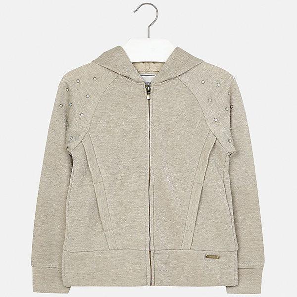 Куртка для девочки MayoralВерхняя одежда<br>Характеристики товара:<br><br>• цвет: бежевый<br>• состав: 42% хлопок, 42% вискоза, 16% металлическая нить<br>• температурный режим: от +15°до +10°С<br>• молния<br>• капюшон<br>• карманы<br>• украшена стразами<br>• страна бренда: Испания<br><br>Модная куртка для девочки поможет разнообразить гардероб ребенка и украсить наряд. Он отлично сочетается и с юбками, и с брюками. Универсальный цвет позволяет подобрать к вещи низ различных расцветок. Интересная отделка модели делает её нарядной и оригинальной.<br><br>Одежда, обувь и аксессуары от испанского бренда Mayoral полюбились детям и взрослым по всему миру. Модели этой марки - стильные и удобные. Для их производства используются только безопасные, качественные материалы и фурнитура. Порадуйте ребенка модными и красивыми вещами от Mayoral! <br><br>Куртку для девочки от испанского бренда Mayoral (Майорал) можно купить в нашем интернет-магазине.<br><br>Ширина мм: 356<br>Глубина мм: 10<br>Высота мм: 245<br>Вес г: 519<br>Цвет: серый<br>Возраст от месяцев: 84<br>Возраст до месяцев: 96<br>Пол: Женский<br>Возраст: Детский<br>Размер: 128/134,170,164,158,152,140<br>SKU: 5292910