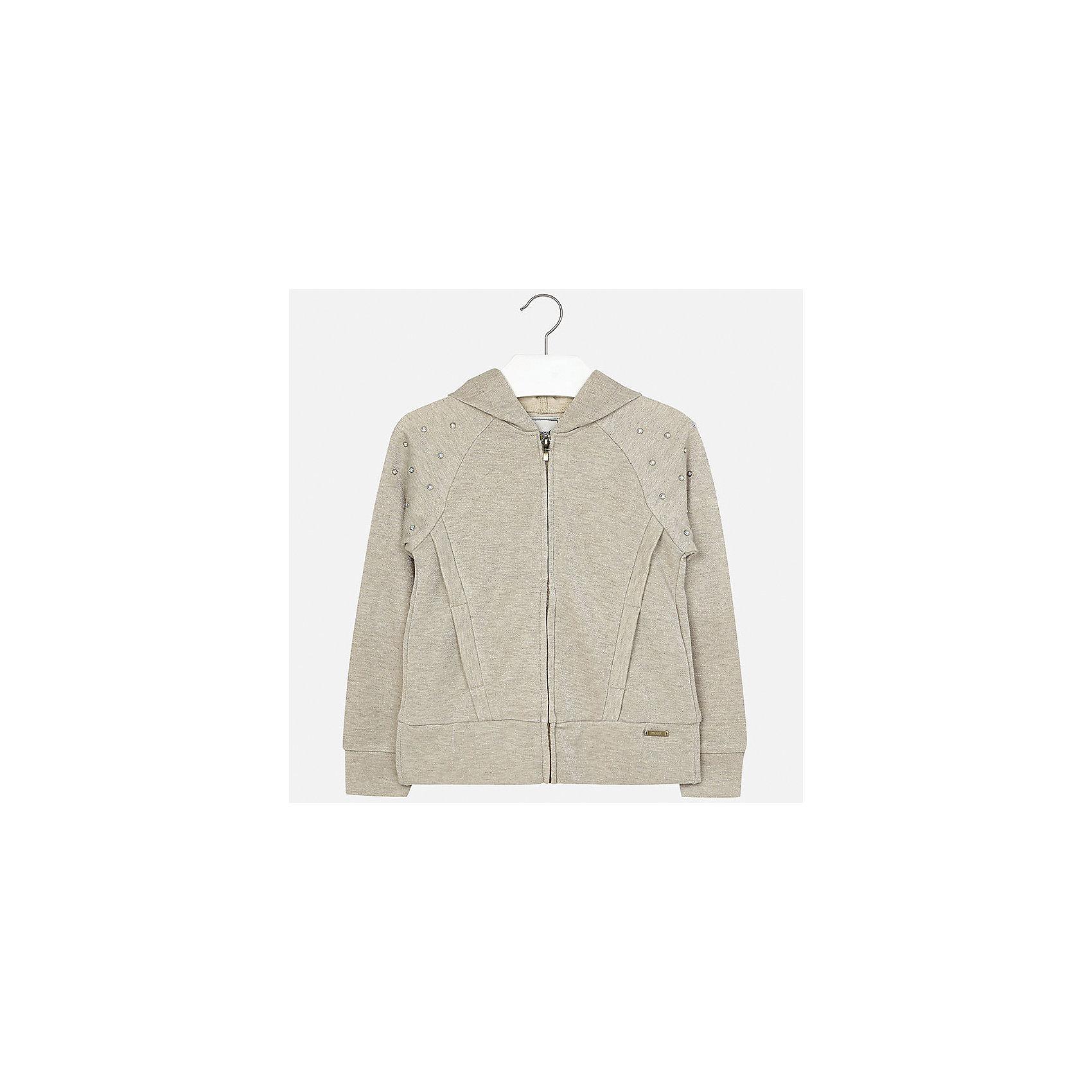 Куртка для девочки MayoralВетровки и жакеты<br>Характеристики товара:<br><br>• цвет: бежевый<br>• состав: 42% хлопок, 42% вискоза, 16% металлическая нить<br>• температурный режим: от +15°до +10°С<br>• молния<br>• капюшон<br>• карманы<br>• украшена стразами<br>• страна бренда: Испания<br><br>Модная куртка для девочки поможет разнообразить гардероб ребенка и украсить наряд. Он отлично сочетается и с юбками, и с брюками. Универсальный цвет позволяет подобрать к вещи низ различных расцветок. Интересная отделка модели делает её нарядной и оригинальной.<br><br>Одежда, обувь и аксессуары от испанского бренда Mayoral полюбились детям и взрослым по всему миру. Модели этой марки - стильные и удобные. Для их производства используются только безопасные, качественные материалы и фурнитура. Порадуйте ребенка модными и красивыми вещами от Mayoral! <br><br>Куртку для девочки от испанского бренда Mayoral (Майорал) можно купить в нашем интернет-магазине.<br><br>Ширина мм: 356<br>Глубина мм: 10<br>Высота мм: 245<br>Вес г: 519<br>Цвет: серый<br>Возраст от месяцев: 168<br>Возраст до месяцев: 180<br>Пол: Женский<br>Возраст: Детский<br>Размер: 170,128/134,140,152,158,164<br>SKU: 5292910
