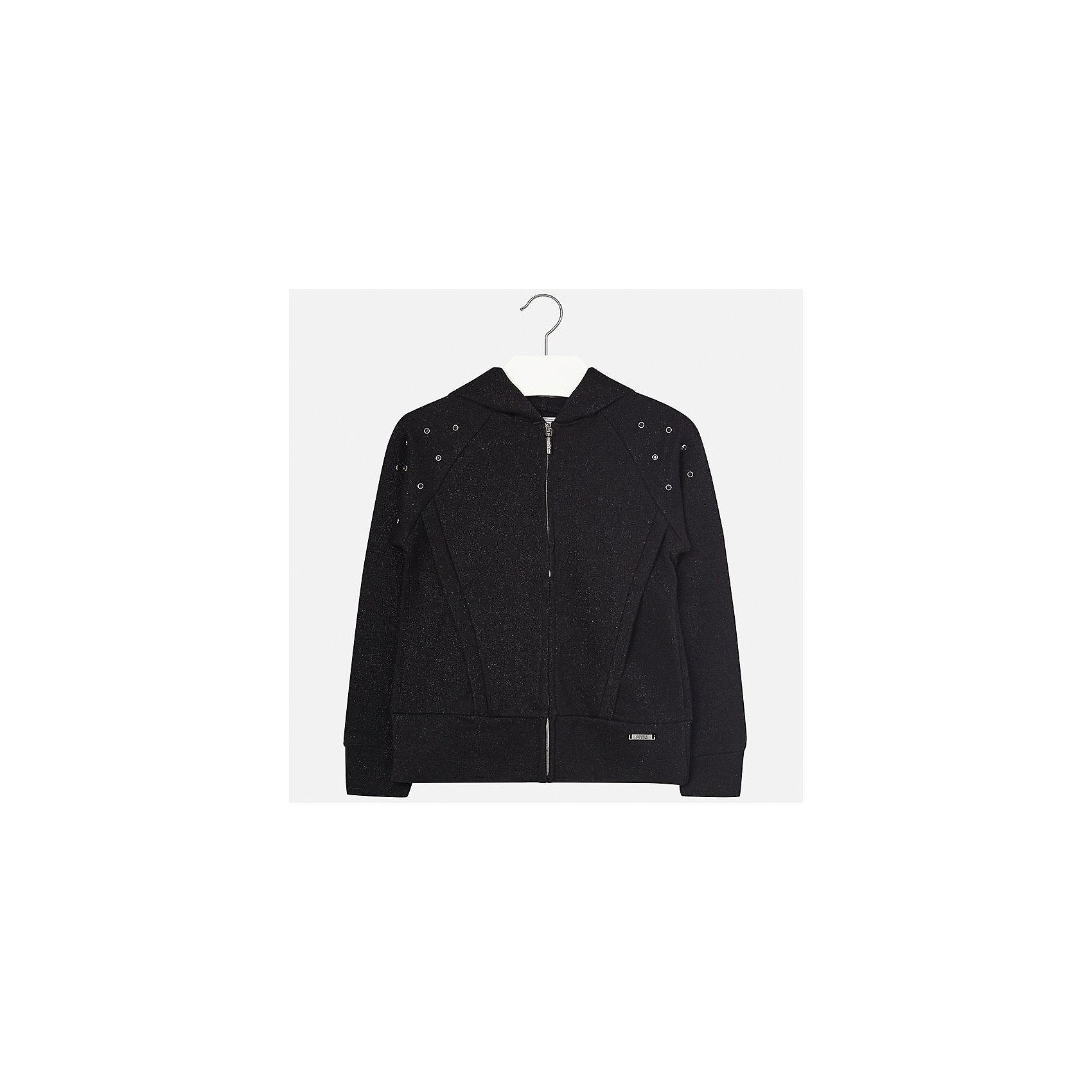 Куртка для девочки MayoralВетровки и жакеты<br>Характеристики товара:<br><br>• цвет: чёрный<br>• состав: 42% хлопок, 42% вискоза, 16% металлическая нить<br>• молния<br>• капюшон<br>• карманы<br>• украшена стразами<br>• страна бренда: Испания<br><br>Модная куртка для девочки поможет разнообразить гардероб ребенка и украсить наряд. Интересная отделка модели делает её нарядной и оригинальной.<br><br>Куртку для девочки от испанского бренда Mayoral (Майорал) можно купить в нашем интернет-магазине.<br><br>Ширина мм: 356<br>Глубина мм: 10<br>Высота мм: 245<br>Вес г: 519<br>Цвет: черный<br>Возраст от месяцев: 84<br>Возраст до месяцев: 96<br>Пол: Женский<br>Возраст: Детский<br>Размер: 128/134,170,140,152,158,164<br>SKU: 5292917