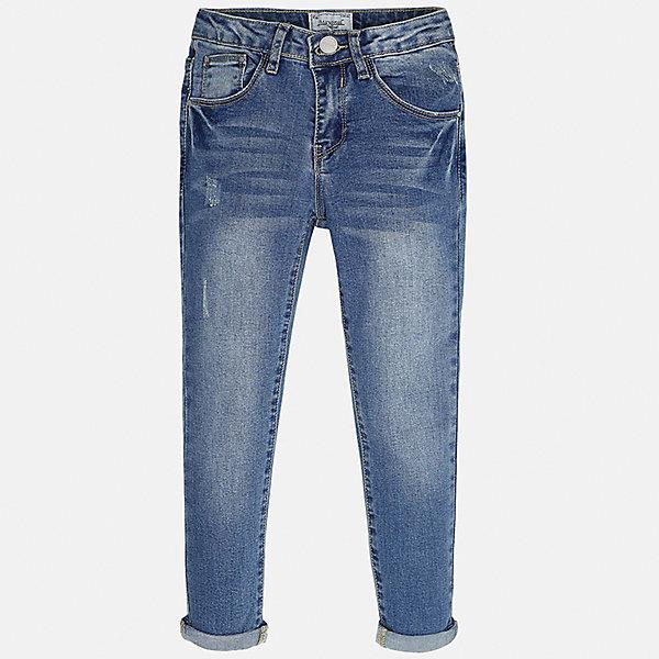Джинсы для девочки MayoralДжинсовая одежда<br>Характеристики товара:<br><br>• цвет: синий<br>• состав: 69% хлопок, 29% полиэстер, 2% эластан<br>• эффект потертости<br>• карманы<br>• пояс с регулировкой объема<br>• шлевки<br>• страна бренда: Испания<br><br>Стильные джинсы для девочки смогут разнообразить гардероб ребенка и украсить наряд. Они отлично сочетаются с майками, футболками, блузками. Красивый оттенок позволяет подобрать к вещи верх разных расцветок. Интересный крой модели делает её нарядной и оригинальной. В составе материала - натуральный хлопок, гипоаллергенный, приятный на ощупь, дышащий.<br><br>Одежда, обувь и аксессуары от испанского бренда Mayoral полюбились детям и взрослым по всему миру. Модели этой марки - стильные и удобные. Для их производства используются только безопасные, качественные материалы и фурнитура. Порадуйте ребенка модными и красивыми вещами от Mayoral! <br><br>Джинсы для девочки от испанского бренда Mayoral (Майорал) можно купить в нашем интернет-магазине.<br><br>Ширина мм: 191<br>Глубина мм: 10<br>Высота мм: 175<br>Вес г: 273<br>Цвет: синий<br>Возраст от месяцев: 156<br>Возраст до месяцев: 168<br>Пол: Женский<br>Возраст: Детский<br>Размер: 164,128/134,170,158,152,140<br>SKU: 5292945