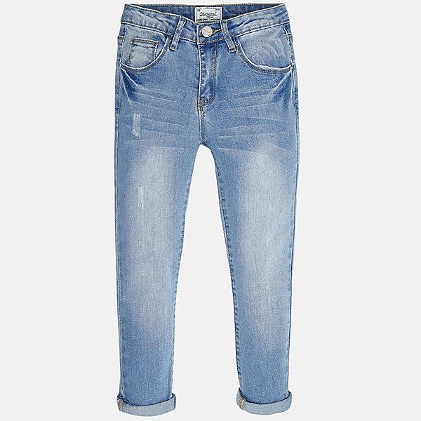 Джинсы для девочки MayoralДжинсы<br>Характеристики товара:<br><br>• цвет: голубой<br>• состав: 69% хлопок, 29% полиэстер, 2% эластан<br>• эффект потертости<br>• карманы<br>• пояс с регулировкой объема<br>• шлевки<br>• страна бренда: Испания<br><br>Стильные джинсы для девочки смогут разнообразить гардероб ребенка и украсить наряд. Они отлично сочетаются с майками, футболками, блузками. Красивый оттенок позволяет подобрать к вещи верх разных расцветок. Интересный крой модели делает её нарядной и оригинальной. В составе материала - натуральный хлопок, гипоаллергенный, приятный на ощупь, дышащий.<br><br>Одежда, обувь и аксессуары от испанского бренда Mayoral полюбились детям и взрослым по всему миру. Модели этой марки - стильные и удобные. Для их производства используются только безопасные, качественные материалы и фурнитура. Порадуйте ребенка модными и красивыми вещами от Mayoral! <br><br>Джинсы для девочки от испанского бренда Mayoral (Майорал) можно купить в нашем интернет-магазине.<br>Ширина мм: 191; Глубина мм: 10; Высота мм: 175; Вес г: 273; Цвет: синий; Возраст от месяцев: 84; Возраст до месяцев: 96; Пол: Женский; Возраст: Детский; Размер: 128/134,170,164,158,152,140; SKU: 5292952;