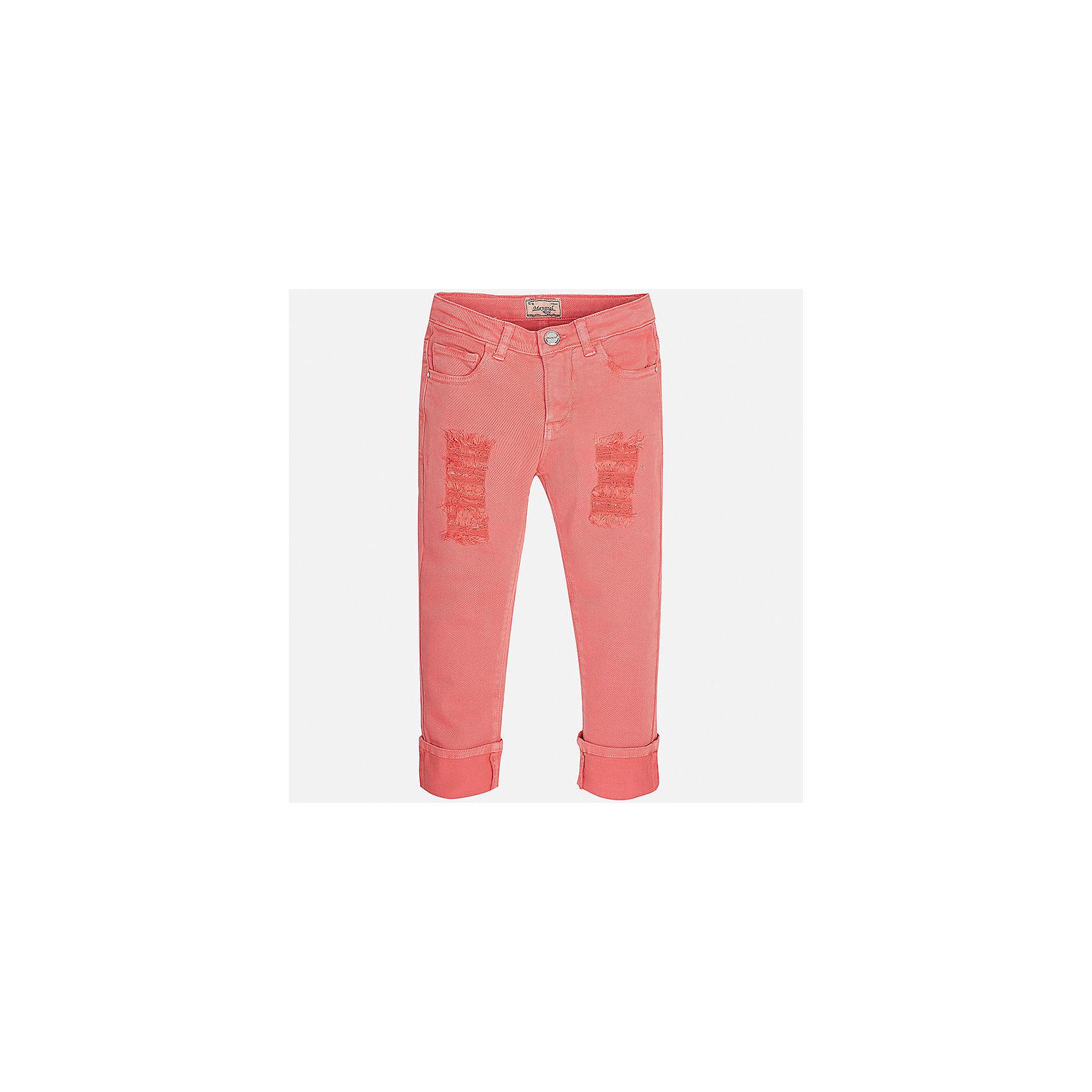 Брюки для девочки MayoralХарактеристики товара:<br><br>• цвет: розовый<br>• состав: 98% хлопок, 2% эластан<br>• эффект потертости<br>• карманы<br>• пояс с регулировкой объема<br>• шлевки<br>• страна бренда: Испания<br><br>Стильные брюки для девочки смогут разнообразить гардероб ребенка и украсить наряд. Они отлично сочетаются с майками, футболками, блузками. Красивый оттенок позволяет подобрать к вещи верх разных расцветок. Интересный крой модели делает её нарядной и оригинальной. В составе материала - натуральный хлопок, гипоаллергенный, приятный на ощупь, дышащий.<br><br>Одежда, обувь и аксессуары от испанского бренда Mayoral полюбились детям и взрослым по всему миру. Модели этой марки - стильные и удобные. Для их производства используются только безопасные, качественные материалы и фурнитура. Порадуйте ребенка модными и красивыми вещами от Mayoral! <br><br>Брюки для девочки от испанского бренда Mayoral (Майорал) можно купить в нашем интернет-магазине.<br><br>Ширина мм: 215<br>Глубина мм: 88<br>Высота мм: 191<br>Вес г: 336<br>Цвет: розовый<br>Возраст от месяцев: 84<br>Возраст до месяцев: 96<br>Пол: Женский<br>Возраст: Детский<br>Размер: 128/134,170,140,152,158,164<br>SKU: 5292966