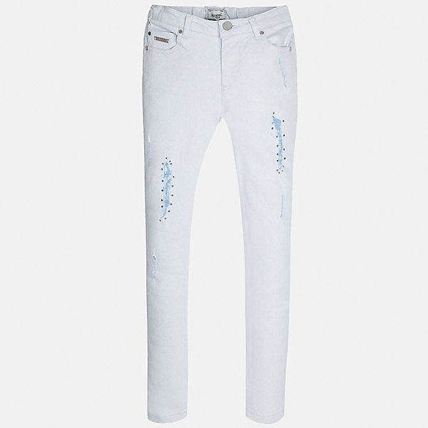 Брюки для девочки MayoralДжинсовая одежда<br>Характеристики товара:<br><br>• цвет: голубой<br>• состав: 98% хлопок, 2% эластан<br>• классический силуэт<br>• карманы<br>• пояс с регулировкой объема<br>• шлевки<br>• страна бренда: Испания<br><br>Стильные брюки для девочки смогут разнообразить гардероб ребенка и украсить наряд. Они отлично сочетаются с майками, футболками, блузками. Красивый оттенок позволяет подобрать к вещи верх разных расцветок. Интересный крой модели делает её нарядной и оригинальной. В составе материала - натуральный хлопок, гипоаллергенный, приятный на ощупь, дышащий.<br><br>Одежда, обувь и аксессуары от испанского бренда Mayoral полюбились детям и взрослым по всему миру. Модели этой марки - стильные и удобные. Для их производства используются только безопасные, качественные материалы и фурнитура. Порадуйте ребенка модными и красивыми вещами от Mayoral! <br><br>Брюки для девочки от испанского бренда Mayoral (Майорал) можно купить в нашем интернет-магазине.<br><br>Ширина мм: 215<br>Глубина мм: 88<br>Высота мм: 191<br>Вес г: 336<br>Цвет: голубой<br>Возраст от месяцев: 84<br>Возраст до месяцев: 96<br>Пол: Женский<br>Возраст: Детский<br>Размер: 128/134,170,164,158,152,140<br>SKU: 5293013