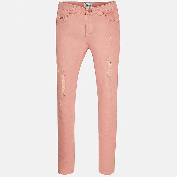 Брюки для девочки MayoralБрюки<br>Характеристики товара:<br><br>• цвет: розовый<br>• состав: 98% хлопок, 2% эластан<br>• классический силуэт<br>• карманы<br>• пояс с регулировкой объема<br>• шлевки<br>• страна бренда: Испания<br><br>Стильные брюки для девочки смогут разнообразить гардероб ребенка и украсить наряд. Они отлично сочетаются с майками, футболками, блузками. Красивый оттенок позволяет подобрать к вещи верх разных расцветок. Интересный крой модели делает её нарядной и оригинальной. В составе материала - натуральный хлопок, гипоаллергенный, приятный на ощупь, дышащий.<br><br>Одежда, обувь и аксессуары от испанского бренда Mayoral полюбились детям и взрослым по всему миру. Модели этой марки - стильные и удобные. Для их производства используются только безопасные, качественные материалы и фурнитура. Порадуйте ребенка модными и красивыми вещами от Mayoral! <br><br>Брюки для девочки от испанского бренда Mayoral (Майорал) можно купить в нашем интернет-магазине.<br>Ширина мм: 215; Глубина мм: 88; Высота мм: 191; Вес г: 336; Цвет: розовый; Возраст от месяцев: 156; Возраст до месяцев: 168; Пол: Женский; Возраст: Детский; Размер: 164,128/134,170,158,152,140; SKU: 5293020;