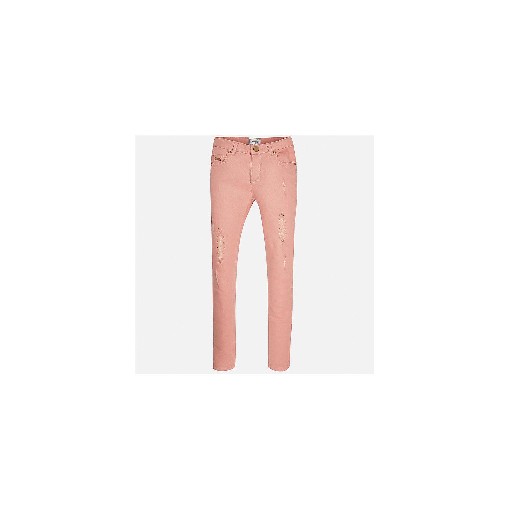 Брюки для девочки MayoralБрюки<br>Характеристики товара:<br><br>• цвет: розовый<br>• состав: 98% хлопок, 2% эластан<br>• классический силуэт<br>• карманы<br>• пояс с регулировкой объема<br>• шлевки<br>• страна бренда: Испания<br><br>Стильные брюки для девочки смогут разнообразить гардероб ребенка и украсить наряд. Они отлично сочетаются с майками, футболками, блузками. Красивый оттенок позволяет подобрать к вещи верх разных расцветок. Интересный крой модели делает её нарядной и оригинальной. В составе материала - натуральный хлопок, гипоаллергенный, приятный на ощупь, дышащий.<br><br>Одежда, обувь и аксессуары от испанского бренда Mayoral полюбились детям и взрослым по всему миру. Модели этой марки - стильные и удобные. Для их производства используются только безопасные, качественные материалы и фурнитура. Порадуйте ребенка модными и красивыми вещами от Mayoral! <br><br>Брюки для девочки от испанского бренда Mayoral (Майорал) можно купить в нашем интернет-магазине.<br><br>Ширина мм: 215<br>Глубина мм: 88<br>Высота мм: 191<br>Вес г: 336<br>Цвет: розовый<br>Возраст от месяцев: 84<br>Возраст до месяцев: 96<br>Пол: Женский<br>Возраст: Детский<br>Размер: 128/134,170,164,158,152,140<br>SKU: 5293020