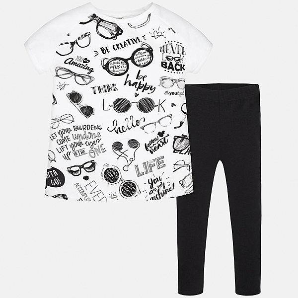 Комплект: футболка и леггинсы для девочки MayoralКомплекты<br>Характеристики товара:<br><br>• цвет: белый/черный<br>• состав: 92% хлопок, 8% эластан<br>• комплектация: футболка, леггинсы<br>• футболка декорирована принтом<br>• леггинсы однотонные<br>• пояс на резинке<br>• страна бренда: Испания<br><br>Красивый качественный комплект для девочки поможет разнообразить гардероб ребенка и удобно одеться в теплую погоду. Он отлично сочетается с другими предметами. Универсальный цвет позволяет подобрать к вещам верхнюю одежду практически любой расцветки. Интересная отделка модели делает её нарядной и оригинальной. В составе материала - натуральный хлопок, гипоаллергенный, приятный на ощупь, дышащий.<br><br>Одежда, обувь и аксессуары от испанского бренда Mayoral полюбились детям и взрослым по всему миру. Модели этой марки - стильные и удобные. Для их производства используются только безопасные, качественные материалы и фурнитура. Порадуйте ребенка модными и красивыми вещами от Mayoral! <br><br>Комплект для девочки от испанского бренда Mayoral (Майорал) можно купить в нашем интернет-магазине.<br><br>Ширина мм: 123<br>Глубина мм: 10<br>Высота мм: 149<br>Вес г: 209<br>Цвет: черный<br>Возраст от месяцев: 156<br>Возраст до месяцев: 168<br>Пол: Женский<br>Возраст: Детский<br>Размер: 164,128/134,158,152,140<br>SKU: 5293054