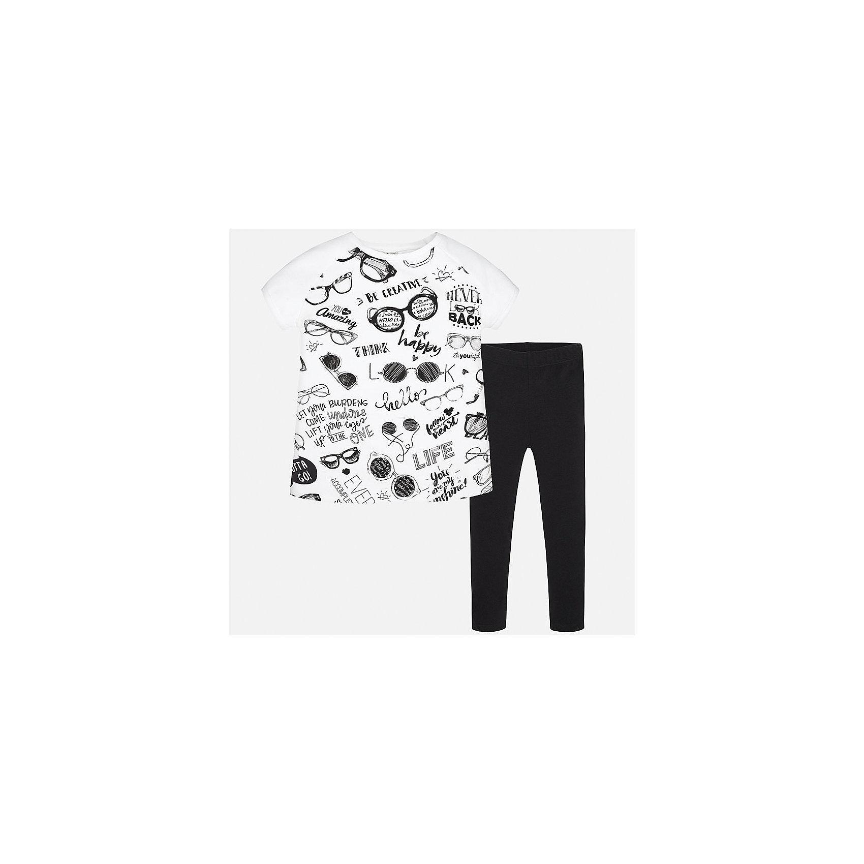 Комплект: футболка и леггинсы для девочки MayoralКомплекты<br>Характеристики товара:<br><br>• цвет: белый/черный<br>• состав: 92% хлопок, 8% эластан<br>• комплектация: футболка, леггинсы<br>• футболка декорирована принтом<br>• леггинсы однотонные<br>• пояс на резинке<br>• страна бренда: Испания<br><br>Красивый качественный комплект для девочки поможет разнообразить гардероб ребенка и удобно одеться в теплую погоду. Он отлично сочетается с другими предметами. Универсальный цвет позволяет подобрать к вещам верхнюю одежду практически любой расцветки. Интересная отделка модели делает её нарядной и оригинальной. В составе материала - натуральный хлопок, гипоаллергенный, приятный на ощупь, дышащий.<br><br>Одежда, обувь и аксессуары от испанского бренда Mayoral полюбились детям и взрослым по всему миру. Модели этой марки - стильные и удобные. Для их производства используются только безопасные, качественные материалы и фурнитура. Порадуйте ребенка модными и красивыми вещами от Mayoral! <br><br>Комплект для девочки от испанского бренда Mayoral (Майорал) можно купить в нашем интернет-магазине.<br><br>Ширина мм: 123<br>Глубина мм: 10<br>Высота мм: 149<br>Вес г: 209<br>Цвет: черный<br>Возраст от месяцев: 156<br>Возраст до месяцев: 168<br>Пол: Женский<br>Возраст: Детский<br>Размер: 164,128/134,140,152,158<br>SKU: 5293054