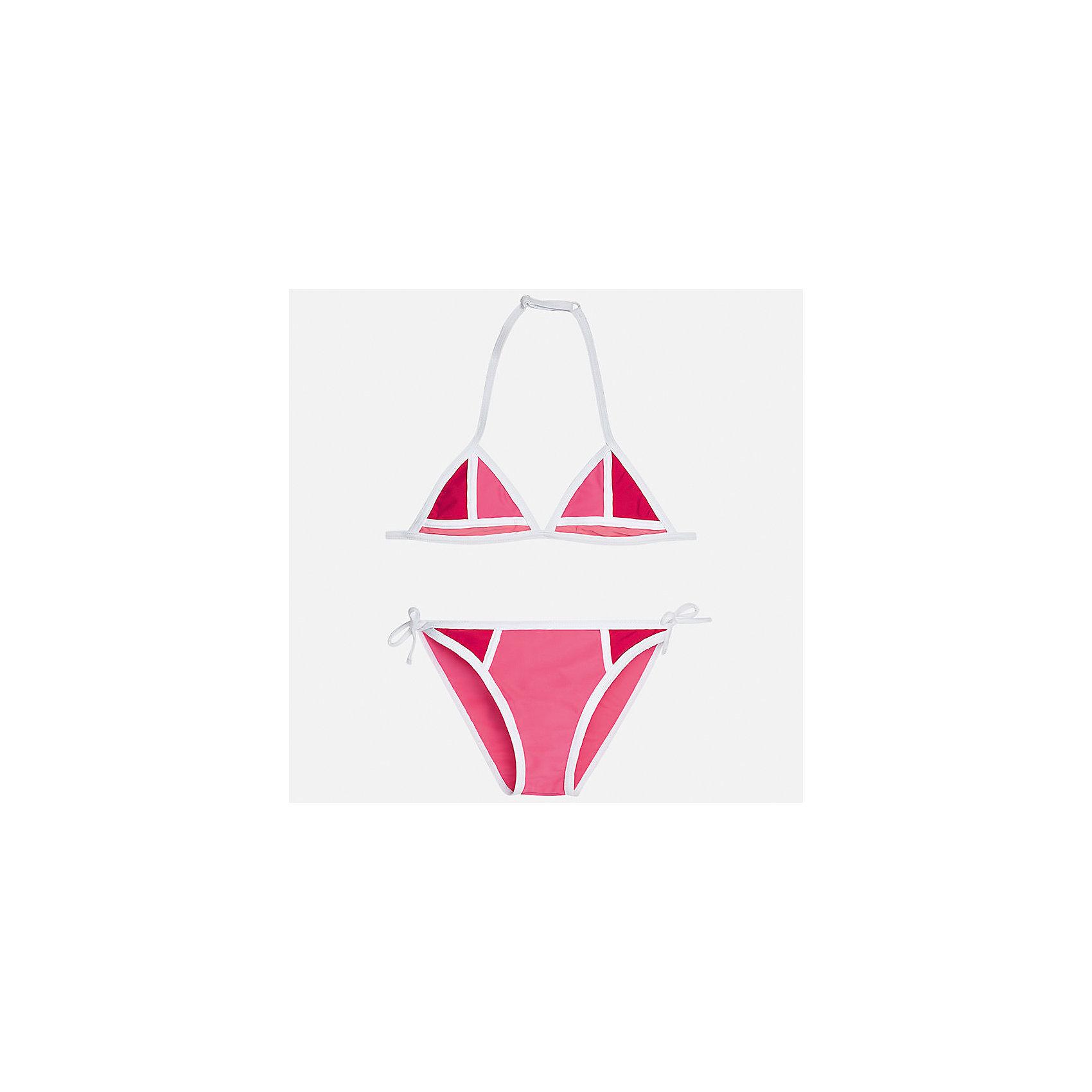 Купальник раздельный для девочки MayoralКупальники и плавки<br>Характеристики товара:<br><br>• цвет: розовый<br>• состав: верх - 80% полиамид, 20% эластан, подкладка - 96% полиамид, 4% эластан<br>• комбинированный материал <br>• тип: раздельный, 2 предмета<br>• регулируется размер<br>• быстросохнущий материал<br>• страна бренда: Испания<br><br>Одежда для купания должна быть удобной! Этот купальник для девочки не только хорошо сидит на ребенке, не стесняя движения и не натирая, он отлично смотрится! Предметы сшиты из плотной ткани, но она очень быстро высыхает. Интересная отделка модели делает её нарядной и оригинальной. <br><br>Одежда, обувь и аксессуары от испанского бренда Mayoral полюбились детям и взрослым по всему миру. Модели этой марки - стильные и удобные. Для их производства используются только безопасные, качественные материалы и фурнитура. Порадуйте ребенка модными и красивыми вещами от Mayoral! <br><br>Купальник для девочки от испанского бренда Mayoral (Майорал) можно купить в нашем интернет-магазине.<br><br>Ширина мм: 183<br>Глубина мм: 60<br>Высота мм: 135<br>Вес г: 119<br>Цвет: фиолетовый<br>Возраст от месяцев: 84<br>Возраст до месяцев: 96<br>Пол: Женский<br>Возраст: Детский<br>Размер: 128/134,140,152,158,164,170<br>SKU: 5293126