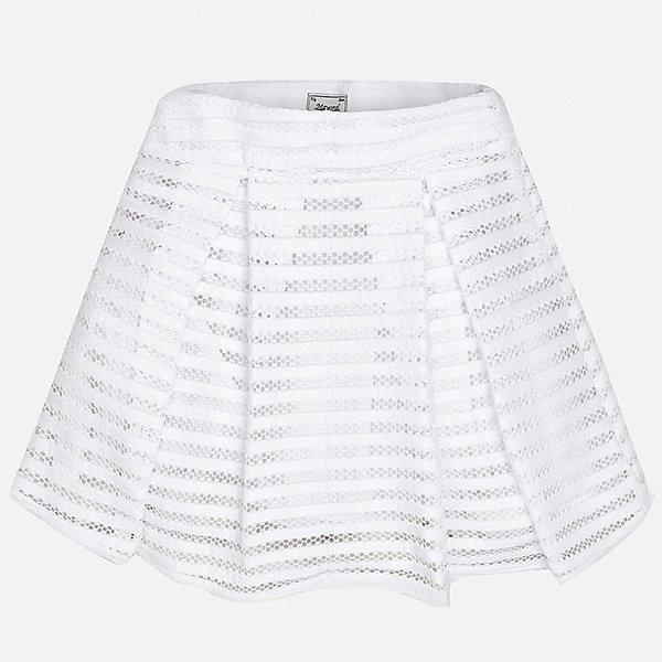 Юбка для девочки MayoralОдежда<br>Характеристики товара:<br><br>• цвет: белый<br>• состав: 100% полиэстер, подкладка - 100% полиэстер<br>• ажурный верх<br>• складки<br>• с подкладкой<br>• страна бренда: Испания<br><br>Эффектная юбка для девочки поможет разнообразить гардероб ребенка и создать эффектный наряд. Она отлично сочетаются с майками, футболками, блузками. Универсальный цвет позволяет подобрать к вещи верх разных расцветок. Юбка отлично сидит и не стесняет движения.<br><br>Одежда, обувь и аксессуары от испанского бренда Mayoral полюбились детям и взрослым по всему миру. Модели этой марки - стильные и удобные. Для их производства используются только безопасные, качественные материалы и фурнитура. Порадуйте ребенка модными и красивыми вещами от Mayoral! <br><br>Юбку для девочки от испанского бренда Mayoral (Майорал) можно купить в нашем интернет-магазине.<br>Ширина мм: 207; Глубина мм: 10; Высота мм: 189; Вес г: 183; Цвет: белый; Возраст от месяцев: 156; Возраст до месяцев: 168; Пол: Женский; Возраст: Детский; Размер: 164,158,152,140,128/134,170; SKU: 5293187;