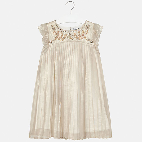 Платье для девочки MayoralОдежда<br>Характеристики товара:<br><br>• цвет: бежевый<br>• состав: 100% полиэстер, подкладка - 65% полиэстер, 35% хлопок<br>• застежка: молния<br>• плиссированный подол<br>• завышенная талия<br>• без рукавов<br>• с подкладкой<br>• страна бренда: Испания<br><br>Нарядное платье для девочки поможет разнообразить гардероб ребенка и создать эффектный наряд. Оно подойдет для различных случаев. Красивый оттенок позволяет подобрать к вещи обувь разных расцветок. В составе материала подкладки - натуральный хлопок, гипоаллергенный, приятный на ощупь, дышащий. Платье хорошо сидит по фигуре.<br><br>Одежда, обувь и аксессуары от испанского бренда Mayoral полюбились детям и взрослым по всему миру. Модели этой марки - стильные и удобные. Для их производства используются только безопасные, качественные материалы и фурнитура. Порадуйте ребенка модными и красивыми вещами от Mayoral! <br><br>Платье для девочки от испанского бренда Mayoral (Майорал) можно купить в нашем интернет-магазине.<br>Ширина мм: 236; Глубина мм: 16; Высота мм: 184; Вес г: 177; Цвет: серый; Возраст от месяцев: 84; Возраст до месяцев: 96; Пол: Женский; Возраст: Детский; Размер: 128/134,164,140,152,158; SKU: 5293207;