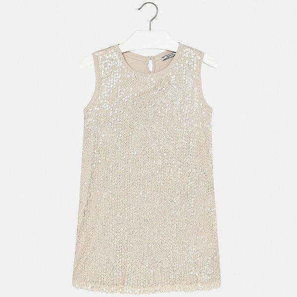 Платье для девочки MayoralОдежда<br>Характеристики товара:<br><br>• цвет: бежевый<br>• состав: 100% полиэстер<br>• застежка: пуговка<br>• легкий материал<br>• плисированная ткань на спине<br>• спереди пайетки<br>• без рукавов<br>• страна бренда: Испания<br><br>Красивое легкое платье для девочки поможет разнообразить гардероб ребенка и создать эффектный наряд. Оно подойдет и для торжественных случаев, может быть и как ежедневный наряд. Красивый оттенок позволяет подобрать к вещи обувь разных расцветок. Платье хорошо сидит по фигуре.<br><br>Одежда, обувь и аксессуары от испанского бренда Mayoral полюбились детям и взрослым по всему миру. Модели этой марки - стильные и удобные. Для их производства используются только безопасные, качественные материалы и фурнитура. Порадуйте ребенка модными и красивыми вещами от Mayoral! <br><br>Платье для девочки от испанского бренда Mayoral (Майорал) можно купить в нашем интернет-магазине.<br><br>Ширина мм: 236<br>Глубина мм: 16<br>Высота мм: 184<br>Вес г: 177<br>Цвет: бежевый<br>Возраст от месяцев: 144<br>Возраст до месяцев: 156<br>Пол: Женский<br>Возраст: Детский<br>Размер: 158,128/134,164,152,140<br>SKU: 5293219