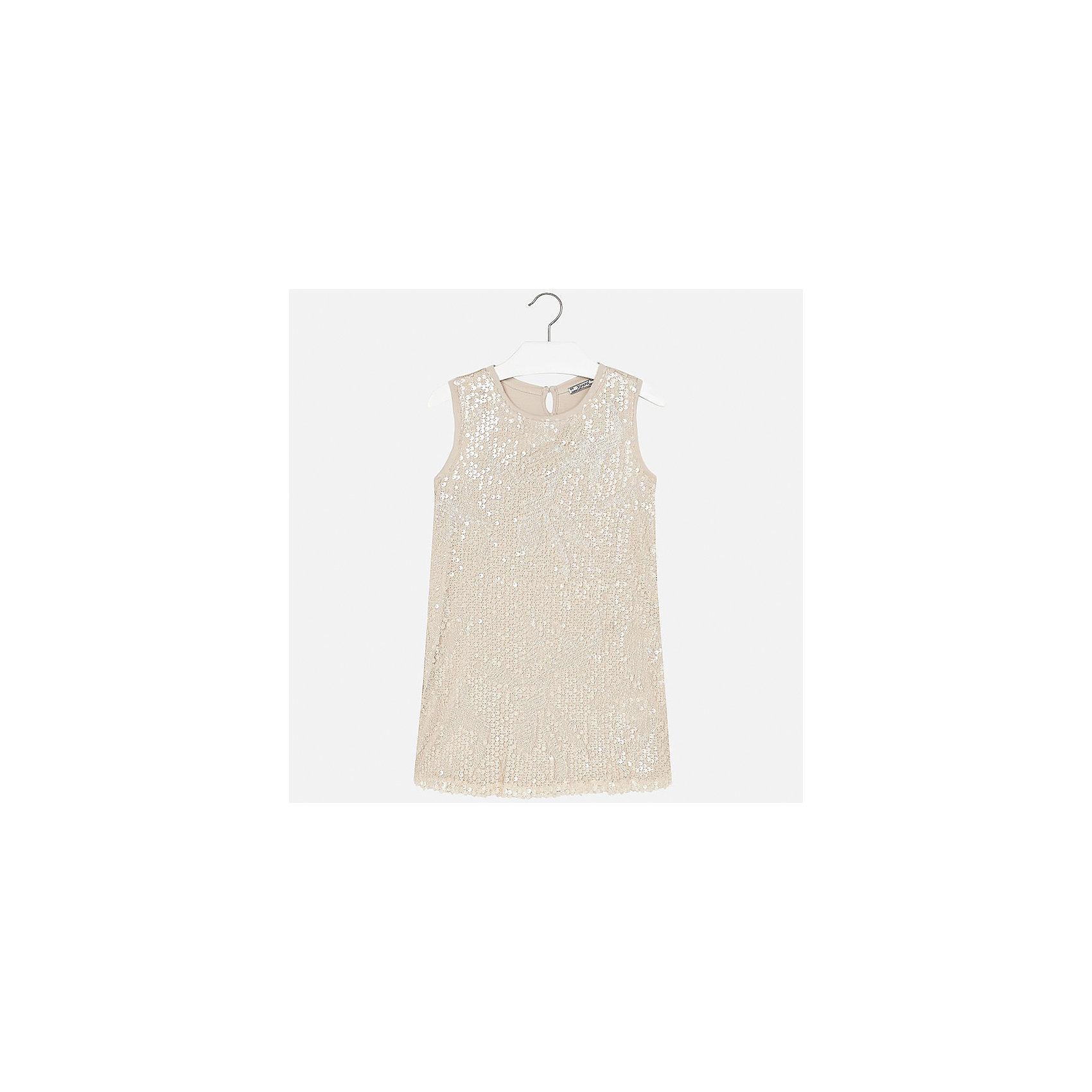 Платье для девочки MayoralОдежда<br>Характеристики товара:<br><br>• цвет: бежевый<br>• состав: 100% полиэстер<br>• застежка: пуговка<br>• легкий материал<br>• плисированная ткань на спине<br>• спереди пайетки<br>• без рукавов<br>• страна бренда: Испания<br><br>Красивое легкое платье для девочки поможет разнообразить гардероб ребенка и создать эффектный наряд. Оно подойдет и для торжественных случаев, может быть и как ежедневный наряд. Красивый оттенок позволяет подобрать к вещи обувь разных расцветок. Платье хорошо сидит по фигуре.<br><br>Одежда, обувь и аксессуары от испанского бренда Mayoral полюбились детям и взрослым по всему миру. Модели этой марки - стильные и удобные. Для их производства используются только безопасные, качественные материалы и фурнитура. Порадуйте ребенка модными и красивыми вещами от Mayoral! <br><br>Платье для девочки от испанского бренда Mayoral (Майорал) можно купить в нашем интернет-магазине.<br><br>Ширина мм: 236<br>Глубина мм: 16<br>Высота мм: 184<br>Вес г: 177<br>Цвет: бежевый<br>Возраст от месяцев: 156<br>Возраст до месяцев: 168<br>Пол: Женский<br>Возраст: Детский<br>Размер: 164,128/134,140,152,158<br>SKU: 5293219