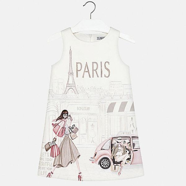 Платье для девочки MayoralПлатья и сарафаны<br>Характеристики товара:<br><br>• цвет: белый<br>• состав: 100% полиэстер, подкладка - 80% полиэстер, 20% хлопок<br>• застежка: молния<br>• прямой силуэт<br>• без рукавов<br>• с подкладкой<br>• страна бренда: Испания<br><br>Нарядное платье для девочки поможет разнообразить гардероб ребенка и создать эффектный наряд. Оно подойдет для различных случаев. Красивый оттенок позволяет подобрать к вещи обувь разных расцветок. Платье хорошо сидит по фигуре.<br><br>Одежда, обувь и аксессуары от испанского бренда Mayoral полюбились детям и взрослым по всему миру. Модели этой марки - стильные и удобные. Для их производства используются только безопасные, качественные материалы и фурнитура. Порадуйте ребенка модными и красивыми вещами от Mayoral! <br><br>Платье для девочки от испанского бренда Mayoral (Майорал) можно купить в нашем интернет-магазине.<br><br>Ширина мм: 236<br>Глубина мм: 16<br>Высота мм: 184<br>Вес г: 177<br>Цвет: белый<br>Возраст от месяцев: 156<br>Возраст до месяцев: 168<br>Пол: Женский<br>Возраст: Детский<br>Размер: 164,158,152,140,128/134<br>SKU: 5293231