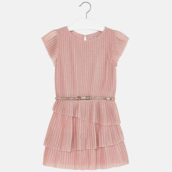 Платье для девочки MayoralОдежда<br>Характеристики товара:<br><br>• цвет: розовый<br>• состав: 90% полиамид, 10% металлическая нить, подкладка - 100% вискоза<br>• застежка: пуговица<br>• плиссированное<br>• ремень на талии<br>• короткие рукава<br>• с подкладкой<br>• страна бренда: Испания<br><br>Модное эффектное платье для девочки поможет разнообразить гардероб ребенка и создать эффектный наряд. Оно подойдет для различных случаев. Красивый оттенок позволяет подобрать к вещи обувь разных расцветок. Платье хорошо сидит по фигуре.<br><br>Одежда, обувь и аксессуары от испанского бренда Mayoral полюбились детям и взрослым по всему миру. Модели этой марки - стильные и удобные. Для их производства используются только безопасные, качественные материалы и фурнитура. Порадуйте ребенка модными и красивыми вещами от Mayoral! <br><br>Платье для девочки от испанского бренда Mayoral (Майорал) можно купить в нашем интернет-магазине.<br><br>Ширина мм: 236<br>Глубина мм: 16<br>Высота мм: 184<br>Вес г: 177<br>Цвет: розовый<br>Возраст от месяцев: 168<br>Возраст до месяцев: 180<br>Пол: Женский<br>Возраст: Детский<br>Размер: 170,128/134,164,158,152,140<br>SKU: 5293237