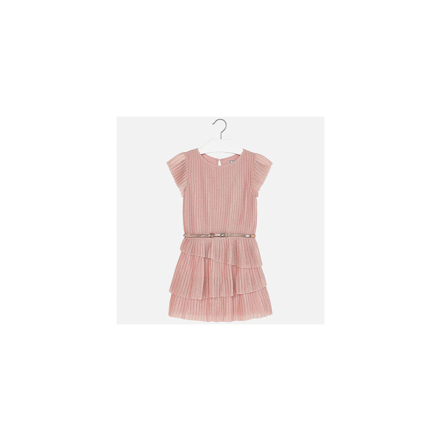 Платье для девочки MayoralОдежда<br>Характеристики товара:<br><br>• цвет: розовый<br>• состав: 90% полиамид, 10% металлическая нить, подкладка - 100% вискоза<br>• застежка: пуговица<br>• плиссированное<br>• ремень на талии<br>• короткие рукава<br>• с подкладкой<br>• страна бренда: Испания<br><br>Модное эффектное платье для девочки поможет разнообразить гардероб ребенка и создать эффектный наряд. Оно подойдет для различных случаев. Красивый оттенок позволяет подобрать к вещи обувь разных расцветок. Платье хорошо сидит по фигуре.<br><br>Одежда, обувь и аксессуары от испанского бренда Mayoral полюбились детям и взрослым по всему миру. Модели этой марки - стильные и удобные. Для их производства используются только безопасные, качественные материалы и фурнитура. Порадуйте ребенка модными и красивыми вещами от Mayoral! <br><br>Платье для девочки от испанского бренда Mayoral (Майорал) можно купить в нашем интернет-магазине.<br><br>Ширина мм: 236<br>Глубина мм: 16<br>Высота мм: 184<br>Вес г: 177<br>Цвет: розовый<br>Возраст от месяцев: 168<br>Возраст до месяцев: 180<br>Пол: Женский<br>Возраст: Детский<br>Размер: 170,128/134,140,152,158,164<br>SKU: 5293237