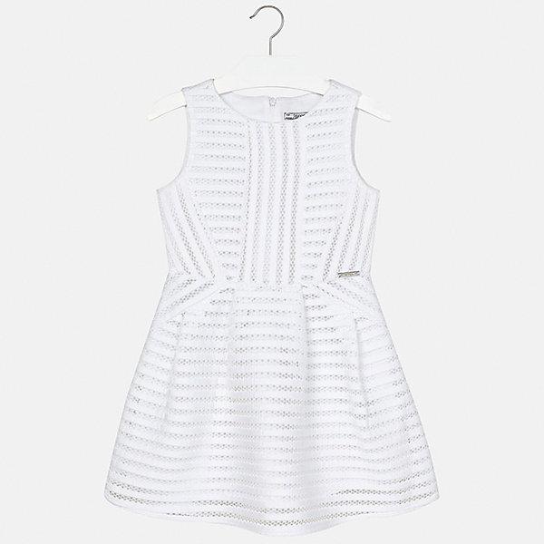 Платье для девочки MayoralОдежда<br>Характеристики товара:<br><br>• цвет: белый<br>• состав: 100% полиэстер, подкладка - 100% полиэстер<br>• застежка: молния<br>• приталенное<br>• без рукавов<br>• с подкладкой<br>• страна бренда: Испания<br><br>Нарядное платье для девочки поможет разнообразить гардероб ребенка и создать эффектный наряд. Оно подойдет для различных случаев. Красивый оттенок позволяет подобрать к вещи обувь разных расцветок. Платье хорошо сидит по фигуре.<br><br>Одежда, обувь и аксессуары от испанского бренда Mayoral полюбились детям и взрослым по всему миру. Модели этой марки - стильные и удобные. Для их производства используются только безопасные, качественные материалы и фурнитура. Порадуйте ребенка модными и красивыми вещами от Mayoral! <br><br>Платье для девочки от испанского бренда Mayoral (Майорал) можно купить в нашем интернет-магазине.<br>Ширина мм: 236; Глубина мм: 16; Высота мм: 184; Вес г: 177; Цвет: белый; Возраст от месяцев: 84; Возраст до месяцев: 96; Пол: Женский; Возраст: Детский; Размер: 128/134,170,164,158,152,140; SKU: 5293269;
