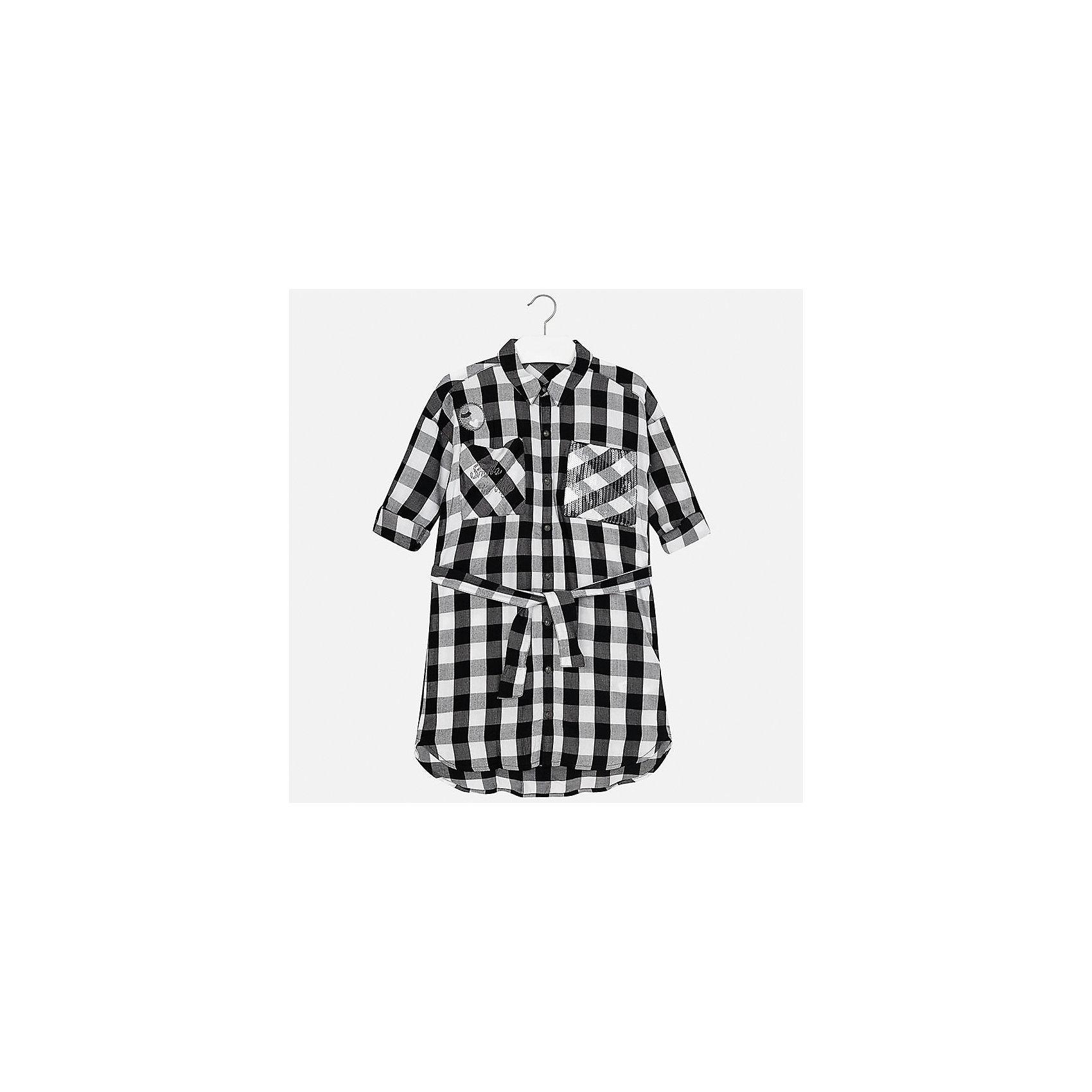 Платье для девочки MayoralХарактеристики товара:<br><br>• цвет: черно-белый<br>• состав: 100% вискоза<br>• застежка: пуговицы<br>• карманы<br>• пояс<br>• отложной воротник<br>• страна бренда: Испания<br><br>Стильное платье для девочки поможет разнообразить гардероб ребенка и создать эффектный наряд. Оно подойдет для различных случаев. Универсальный цвет позволяет подобрать к вещи обувь разных расцветок. Платье хорошо сидит по фигуре.<br><br>Одежда, обувь и аксессуары от испанского бренда Mayoral полюбились детям и взрослым по всему миру. Модели этой марки - стильные и удобные. Для их производства используются только безопасные, качественные материалы и фурнитура. Порадуйте ребенка модными и красивыми вещами от Mayoral! <br><br>Платье для девочки от испанского бренда Mayoral (Майорал) можно купить в нашем интернет-магазине.<br><br>Ширина мм: 236<br>Глубина мм: 16<br>Высота мм: 184<br>Вес г: 177<br>Цвет: черный<br>Возраст от месяцев: 108<br>Возраст до месяцев: 120<br>Пол: Женский<br>Возраст: Детский<br>Размер: 140,152,158,164,170,128/134<br>SKU: 5293283