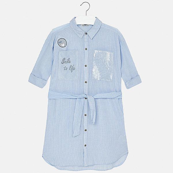 Платье для девочки MayoralЛетние платья и сарафаны<br>Характеристики товара:<br><br>• цвет: голубой<br>• состав: 100% вискоза<br>• застежка: пуговицы<br>• карманы<br>• пояс<br>• отложной воротник<br>• страна бренда: Испания<br><br>Стильное платье для девочки поможет разнообразить гардероб ребенка и создать эффектный наряд. Оно подойдет для различных случаев. Универсальный цвет позволяет подобрать к вещи обувь разных расцветок. Платье хорошо сидит по фигуре.<br><br>Одежда, обувь и аксессуары от испанского бренда Mayoral полюбились детям и взрослым по всему миру. Модели этой марки - стильные и удобные. Для их производства используются только безопасные, качественные материалы и фурнитура. Порадуйте ребенка модными и красивыми вещами от Mayoral! <br><br>Платье для девочки от испанского бренда Mayoral (Майорал) можно купить в нашем интернет-магазине.<br><br>Ширина мм: 236<br>Глубина мм: 16<br>Высота мм: 184<br>Вес г: 177<br>Цвет: голубой<br>Возраст от месяцев: 108<br>Возраст до месяцев: 120<br>Пол: Женский<br>Возраст: Детский<br>Размер: 140,128/134,170,164,158,152<br>SKU: 5293290