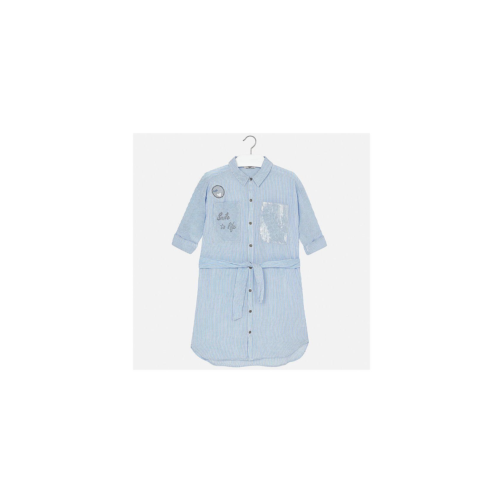 Платье для девочки MayoralПолоска<br>Характеристики товара:<br><br>• цвет: голубой<br>• состав: 100% вискоза<br>• застежка: пуговицы<br>• карманы<br>• пояс<br>• отложной воротник<br>• страна бренда: Испания<br><br>Стильное платье для девочки поможет разнообразить гардероб ребенка и создать эффектный наряд. Оно подойдет для различных случаев. Универсальный цвет позволяет подобрать к вещи обувь разных расцветок. Платье хорошо сидит по фигуре.<br><br>Одежда, обувь и аксессуары от испанского бренда Mayoral полюбились детям и взрослым по всему миру. Модели этой марки - стильные и удобные. Для их производства используются только безопасные, качественные материалы и фурнитура. Порадуйте ребенка модными и красивыми вещами от Mayoral! <br><br>Платье для девочки от испанского бренда Mayoral (Майорал) можно купить в нашем интернет-магазине.<br><br>Ширина мм: 236<br>Глубина мм: 16<br>Высота мм: 184<br>Вес г: 177<br>Цвет: голубой<br>Возраст от месяцев: 84<br>Возраст до месяцев: 96<br>Пол: Женский<br>Возраст: Детский<br>Размер: 128/134,164,170,140,152,158<br>SKU: 5293290