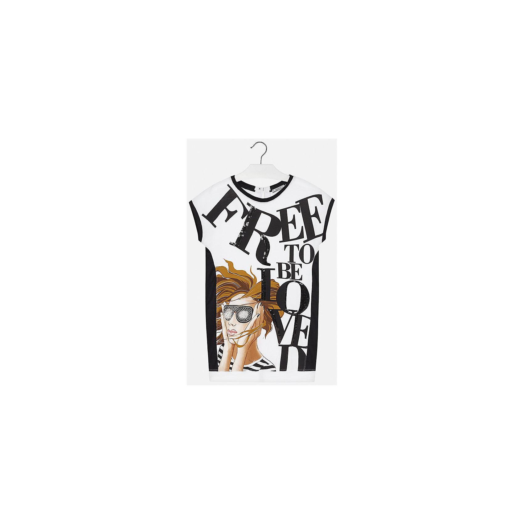 Платье для девочки MayoralПлатья и сарафаны<br>Характеристики товара:<br><br>• цвет: белый/чёрный<br>• состав: 95% хлопок, 5% эластан<br>• застежка - пуговица<br>• зауженный внизу силуэт<br>• короткие рукава<br>• декорировано принтом<br>• страна бренда: Испания<br><br>Стильное платье для девочки поможет разнообразить гардероб ребенка и создать эффектный наряд. Оно подойдет для различных случаев.Платье хорошо сидит по фигуре. В составе материала - натуральный хлопок, гипоаллергенный, приятный на ощупь, дышащий.<br><br>Платье для девочки от испанского бренда Mayoral (Майорал) можно купить в нашем интернет-магазине.<br><br>Ширина мм: 236<br>Глубина мм: 16<br>Высота мм: 184<br>Вес г: 177<br>Цвет: черный<br>Возраст от месяцев: 156<br>Возраст до месяцев: 168<br>Пол: Женский<br>Возраст: Детский<br>Размер: 164,158,170,128/134,140,152<br>SKU: 5293297