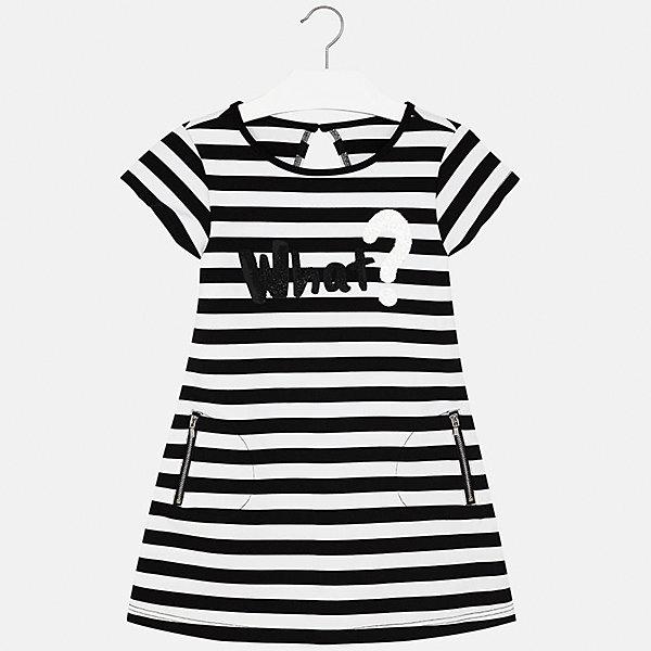 Платье для девочки MayoralЛетние платья и сарафаны<br>Характеристики товара:<br><br>• цвет: черно-белый<br>• состав: 86% полиэстер, 8% вискоза, 6% эластан, подкладка - 86% полиэстер, 8% вискоза, 6% эластан<br>• застежка: пуговица<br>• карманы<br>• принт<br>• короткие рукава<br>• страна бренда: Испания<br><br>Стильное платье для девочки поможет разнообразить гардероб ребенка и создать эффектный наряд. Оно подойдет для различных случаев. Универсальный цвет позволяет подобрать к вещи обувь разных расцветок. Платье хорошо сидит по фигуре.<br><br>Одежда, обувь и аксессуары от испанского бренда Mayoral полюбились детям и взрослым по всему миру. Модели этой марки - стильные и удобные. Для их производства используются только безопасные, качественные материалы и фурнитура. Порадуйте ребенка модными и красивыми вещами от Mayoral! <br><br>Платье для девочки от испанского бренда Mayoral (Майорал) можно купить в нашем интернет-магазине.<br><br>Ширина мм: 236<br>Глубина мм: 16<br>Высота мм: 184<br>Вес г: 177<br>Цвет: черный<br>Возраст от месяцев: 144<br>Возраст до месяцев: 156<br>Пол: Женский<br>Возраст: Детский<br>Размер: 158,128/134,164,152,140<br>SKU: 5293304