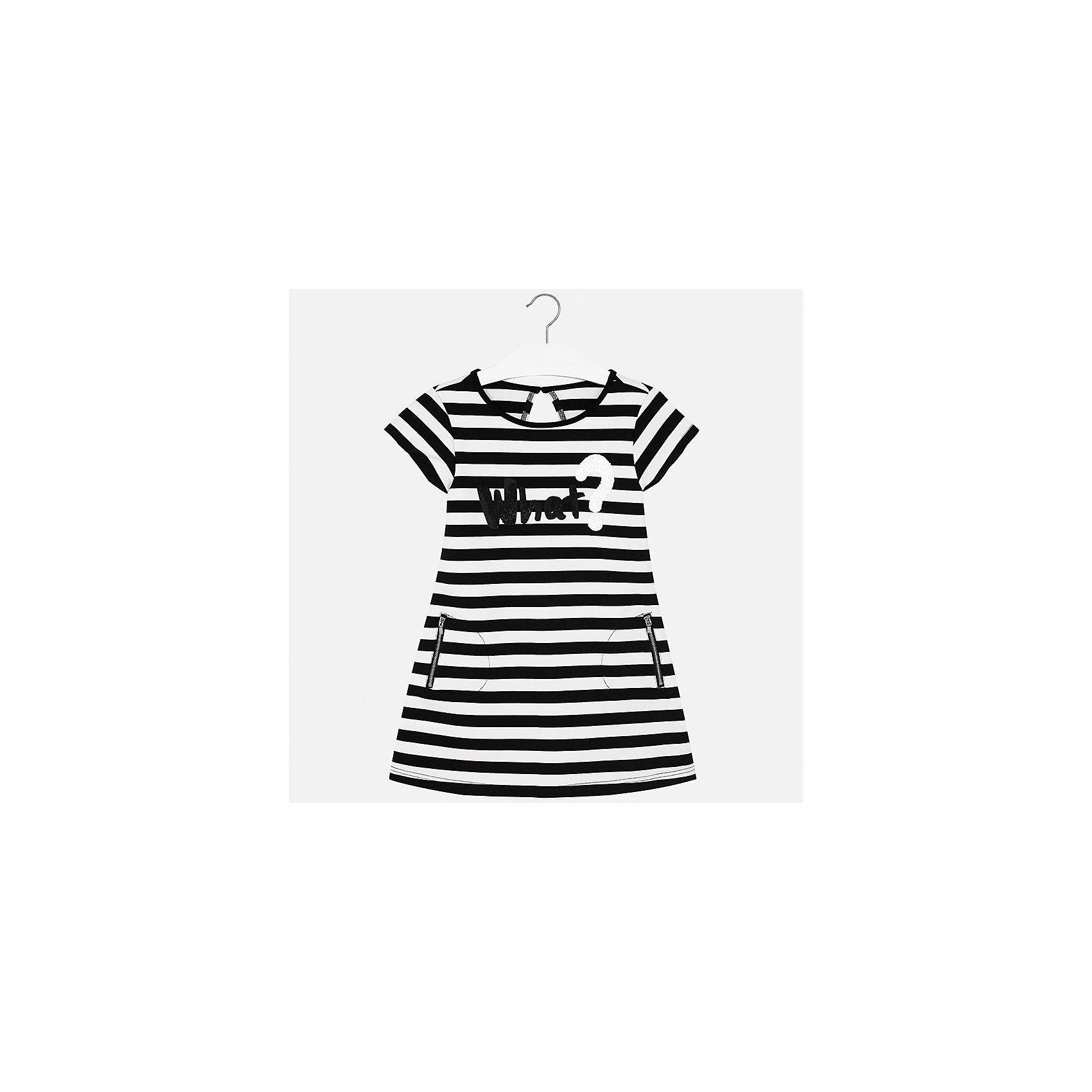 Платье для девочки MayoralХарактеристики товара:<br><br>• цвет: черно-белый<br>• состав: 86% полиэстер, 8% вискоза, 6% эластан, подкладка - 86% полиэстер, 8% вискоза, 6% эластан<br>• застежка: пуговица<br>• карманы<br>• принт<br>• короткие рукава<br>• страна бренда: Испания<br><br>Стильное платье для девочки поможет разнообразить гардероб ребенка и создать эффектный наряд. Оно подойдет для различных случаев. Универсальный цвет позволяет подобрать к вещи обувь разных расцветок. Платье хорошо сидит по фигуре.<br><br>Одежда, обувь и аксессуары от испанского бренда Mayoral полюбились детям и взрослым по всему миру. Модели этой марки - стильные и удобные. Для их производства используются только безопасные, качественные материалы и фурнитура. Порадуйте ребенка модными и красивыми вещами от Mayoral! <br><br>Платье для девочки от испанского бренда Mayoral (Майорал) можно купить в нашем интернет-магазине.<br><br>Ширина мм: 236<br>Глубина мм: 16<br>Высота мм: 184<br>Вес г: 177<br>Цвет: черный<br>Возраст от месяцев: 108<br>Возраст до месяцев: 120<br>Пол: Женский<br>Возраст: Детский<br>Размер: 140,164,128/134,152,158<br>SKU: 5293304
