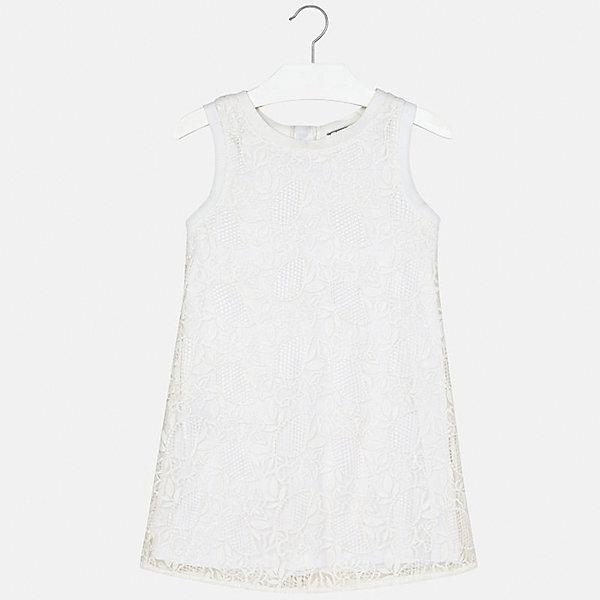 Платье для девочки MayoralОдежда<br>Характеристики товара:<br><br>• цвет: белый<br>• состав: 100% полиэстер, подкладка - 40% полиэстер, 60% хлопок<br>• застежка: молния<br>• прямой силуэт<br>• без рукавов<br>• с подкладкой<br>• страна бренда: Испания<br><br>Нарядное платье для девочки поможет разнообразить гардероб ребенка и создать эффектный наряд. Оно подойдет для различных случаев. Красивый оттенок позволяет подобрать к вещи обувь разных расцветок. Платье хорошо сидит по фигуре.<br><br>Одежда, обувь и аксессуары от испанского бренда Mayoral полюбились детям и взрослым по всему миру. Модели этой марки - стильные и удобные. Для их производства используются только безопасные, качественные материалы и фурнитура. Порадуйте ребенка модными и красивыми вещами от Mayoral! <br><br>Платье для девочки от испанского бренда Mayoral (Майорал) можно купить в нашем интернет-магазине.<br>Ширина мм: 236; Глубина мм: 16; Высота мм: 184; Вес г: 177; Цвет: белый; Возраст от месяцев: 84; Возраст до месяцев: 96; Пол: Женский; Возраст: Детский; Размер: 128/134,164,158,152,140; SKU: 5293310;