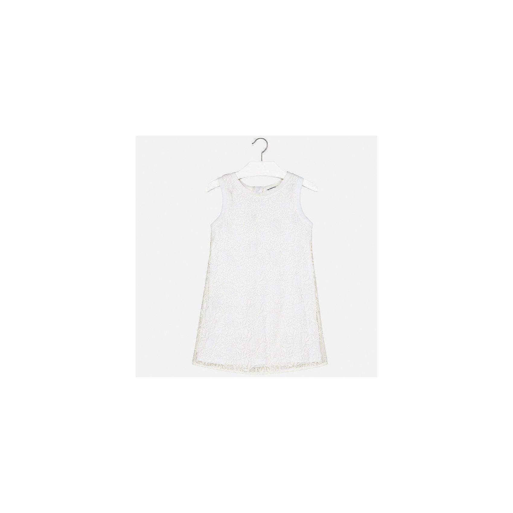 Платье для девочки MayoralОдежда<br>Характеристики товара:<br><br>• цвет: белый<br>• состав: 100% полиэстер, подкладка - 40% полиэстер, 60% хлопок<br>• застежка: молния<br>• прямой силуэт<br>• без рукавов<br>• с подкладкой<br>• страна бренда: Испания<br><br>Нарядное платье для девочки поможет разнообразить гардероб ребенка и создать эффектный наряд. Оно подойдет для различных случаев. Красивый оттенок позволяет подобрать к вещи обувь разных расцветок. Платье хорошо сидит по фигуре.<br><br>Одежда, обувь и аксессуары от испанского бренда Mayoral полюбились детям и взрослым по всему миру. Модели этой марки - стильные и удобные. Для их производства используются только безопасные, качественные материалы и фурнитура. Порадуйте ребенка модными и красивыми вещами от Mayoral! <br><br>Платье для девочки от испанского бренда Mayoral (Майорал) можно купить в нашем интернет-магазине.<br><br>Ширина мм: 236<br>Глубина мм: 16<br>Высота мм: 184<br>Вес г: 177<br>Цвет: белый<br>Возраст от месяцев: 156<br>Возраст до месяцев: 168<br>Пол: Женский<br>Возраст: Детский<br>Размер: 128/134,164,140,152,158<br>SKU: 5293310