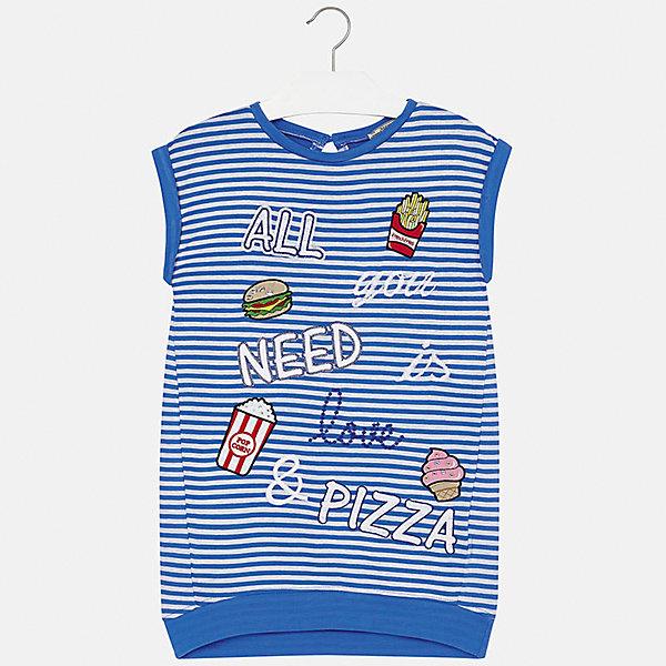 Платье для девочки MayoralПлатья и сарафаны<br>Характеристики товара:<br><br>• цвет: синий<br>• состав: 98% хлопок, 2% эластан, подкладка - 98% хлопок, 2% эластан<br>• застежка: пуговица<br>• прямой силуэт<br>• без рукавов<br>• принт<br>• страна бренда: Испания<br><br>Стильное платье для девочки поможет разнообразить гардероб ребенка и создать эффектный наряд. Оно подойдет для различных случаев. Красивый оттенок позволяет подобрать к вещи обувь разных расцветок. Платье хорошо сидит по фигуре. В составе материала - натуральный хлопок, гипоаллергенный, приятный на ощупь, дышащий. <br><br>Одежда, обувь и аксессуары от испанского бренда Mayoral полюбились детям и взрослым по всему миру. Модели этой марки - стильные и удобные. Для их производства используются только безопасные, качественные материалы и фурнитура. Порадуйте ребенка модными и красивыми вещами от Mayoral! <br><br>Платье для девочки от испанского бренда Mayoral (Майорал) можно купить в нашем интернет-магазине.<br><br>Ширина мм: 236<br>Глубина мм: 16<br>Высота мм: 184<br>Вес г: 177<br>Цвет: синий<br>Возраст от месяцев: 144<br>Возраст до месяцев: 156<br>Пол: Женский<br>Возраст: Детский<br>Размер: 158,128/134,140,152<br>SKU: 5293322