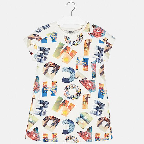 Платье для девочки MayoralПлатья и сарафаны<br>Характеристики товара:<br><br>• цвет: белый принт<br>• состав: 30% полиэстер, 65% вискоза, 5% эластан<br>• без застежки<br>• свободная посадка<br>• принт<br>• короткие рукава<br>• страна бренда: Испания<br><br>Стильное платье для девочки поможет разнообразить гардероб ребенка и создать эффектный наряд. Оно подойдет для различных случаев. Универсальный цвет позволяет подобрать к вещи обувь разных расцветок. Платье хорошо сидит по фигуре.<br><br>Одежда, обувь и аксессуары от испанского бренда Mayoral полюбились детям и взрослым по всему миру. Модели этой марки - стильные и удобные. Для их производства используются только безопасные, качественные материалы и фурнитура. Порадуйте ребенка модными и красивыми вещами от Mayoral! <br><br>Платье для девочки от испанского бренда Mayoral (Майорал) можно купить в нашем интернет-магазине.<br><br>Ширина мм: 236<br>Глубина мм: 16<br>Высота мм: 184<br>Вес г: 177<br>Цвет: розовый<br>Возраст от месяцев: 144<br>Возраст до месяцев: 156<br>Пол: Женский<br>Возраст: Детский<br>Размер: 158,164,170,128/134,140,152<br>SKU: 5293327